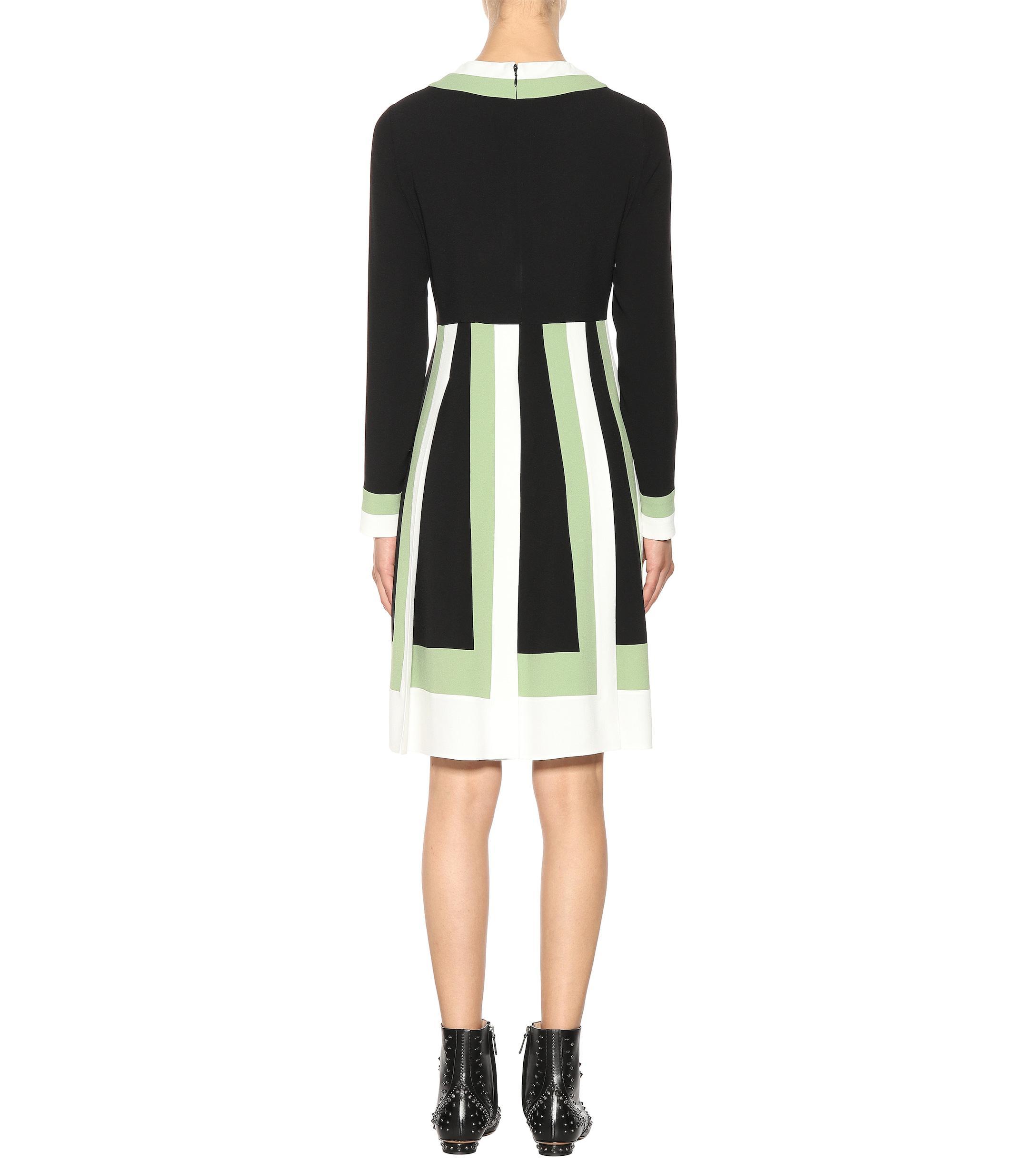 Valentino Lyst Crêpe Dress In Striped Black kuXiOPZ