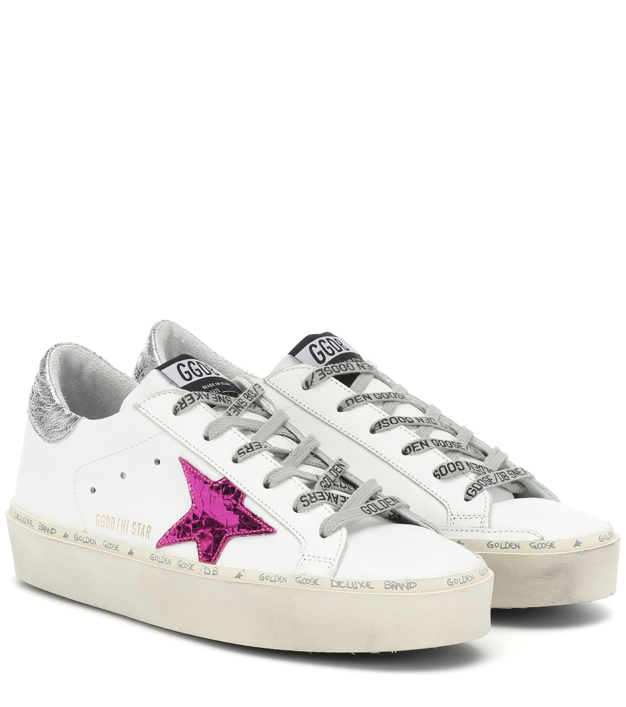 e2a3095c6603 Lyst - Golden Goose Deluxe Brand Hi Star Leather Sneakers in White