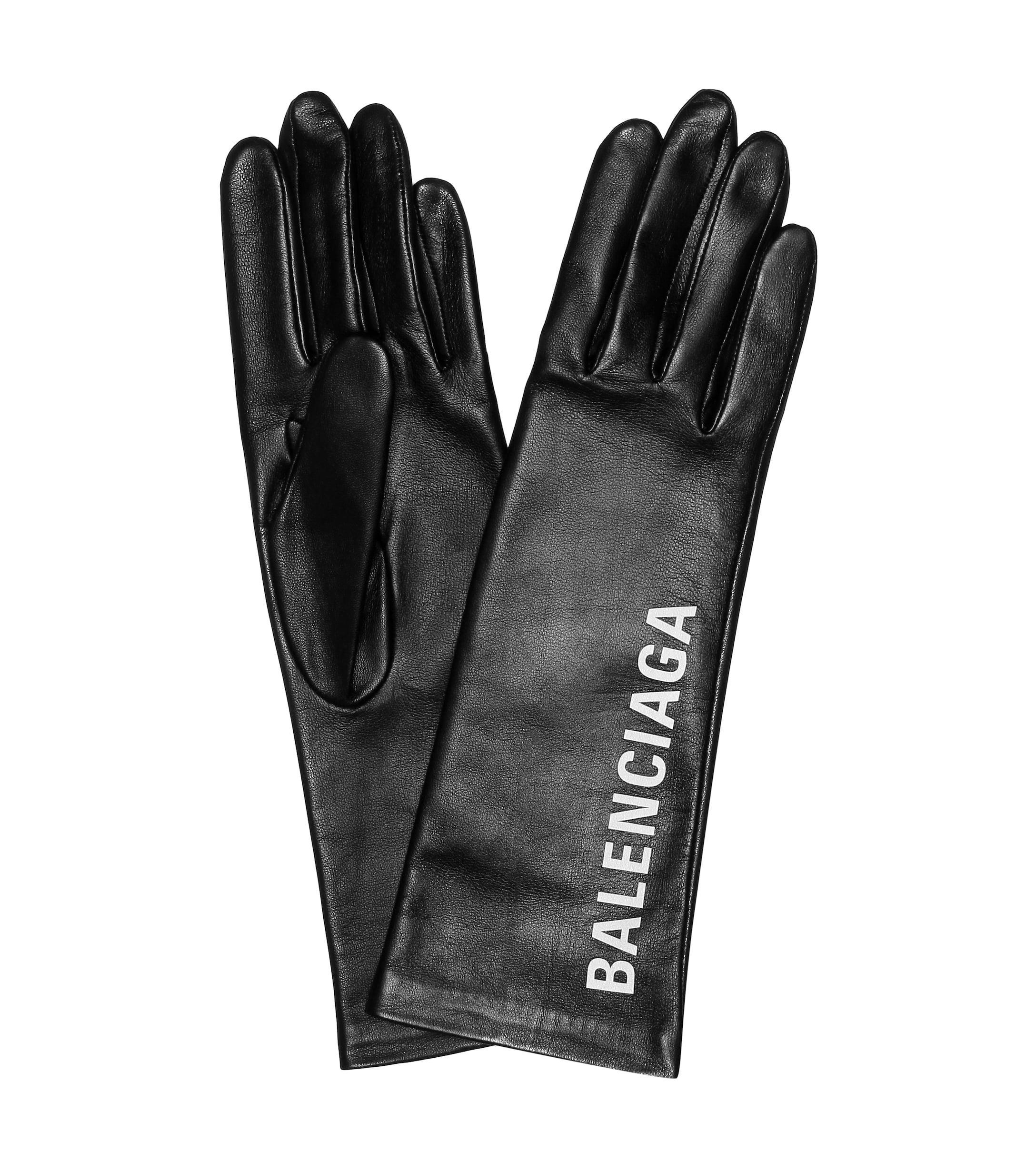 21ad7913fbf7c1 Balenciaga Bedruckte Handschuhe aus Leder in Schwarz - Sparen Sie 1 ...