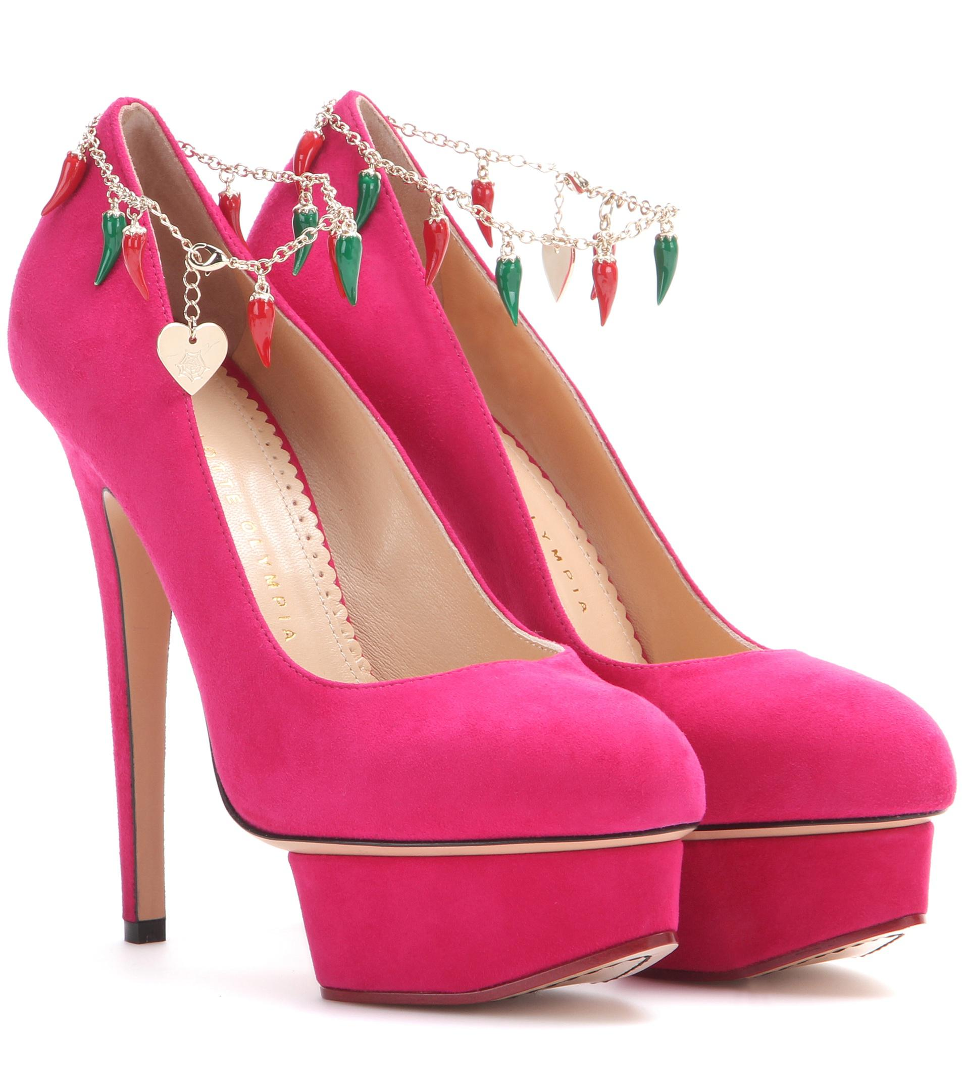 abafa80b674 Charlotte Olympia Hot Dolly Suede Pumps in Pink - Lyst