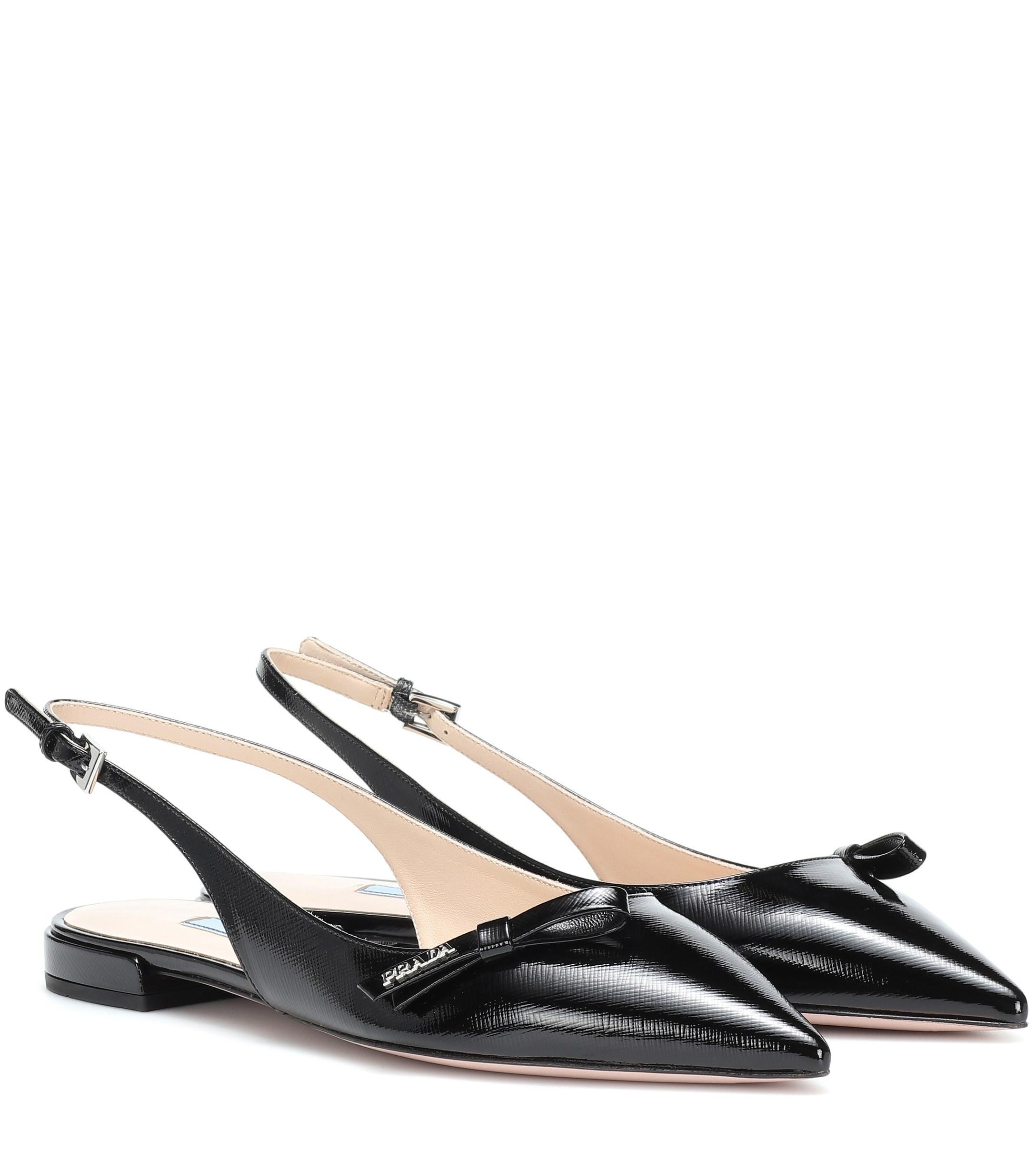 0dc7cc938a4 Prada - Black Leather Slingback Ballet Flats - Lyst. View fullscreen