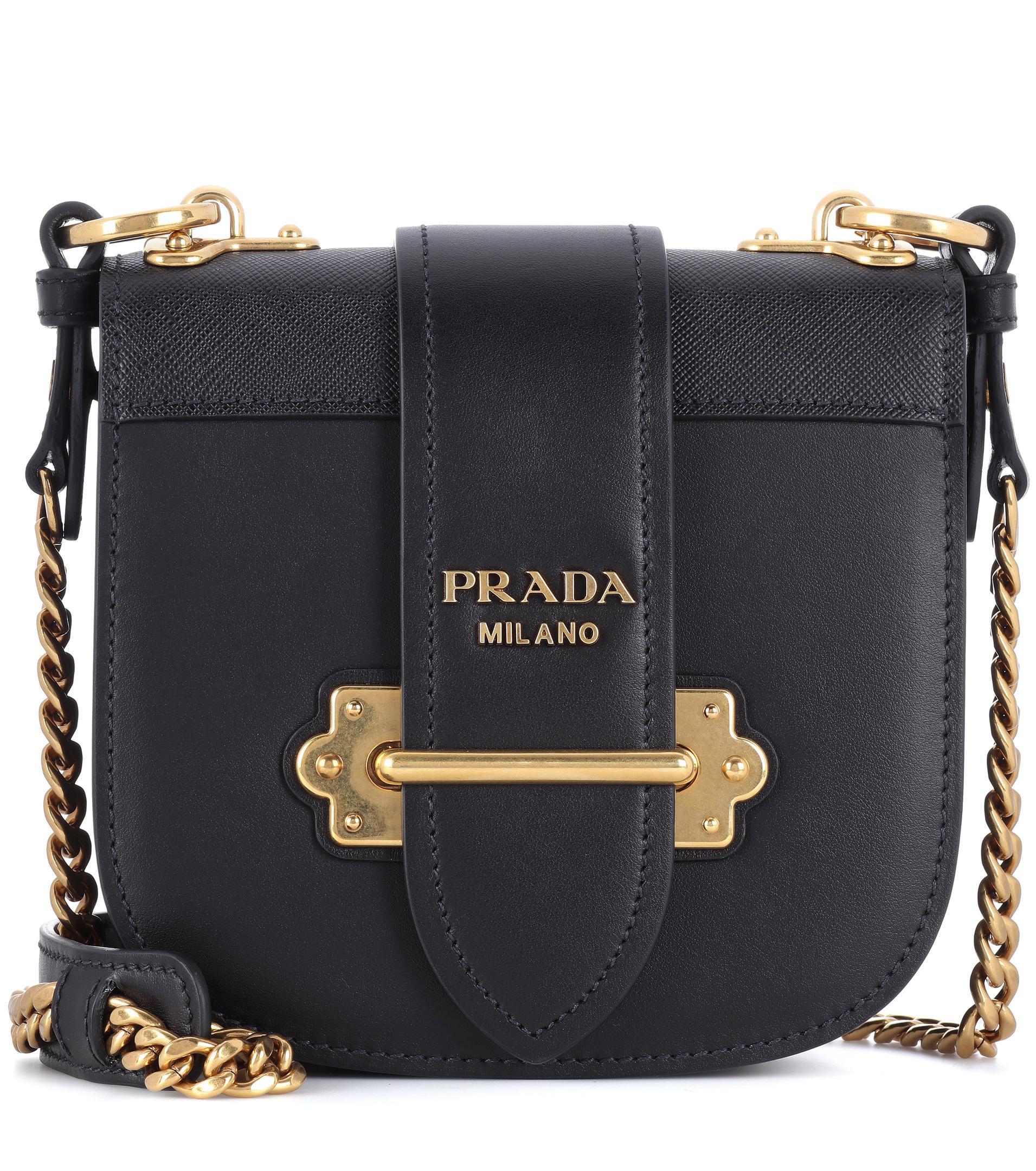 Prada Pionnière Leather Shoulder Bag Acheter Pas Cher En Ligne Marque Livraison Gratuite Nouveau Unisexe Avec Vente En Montreal KZPNxx