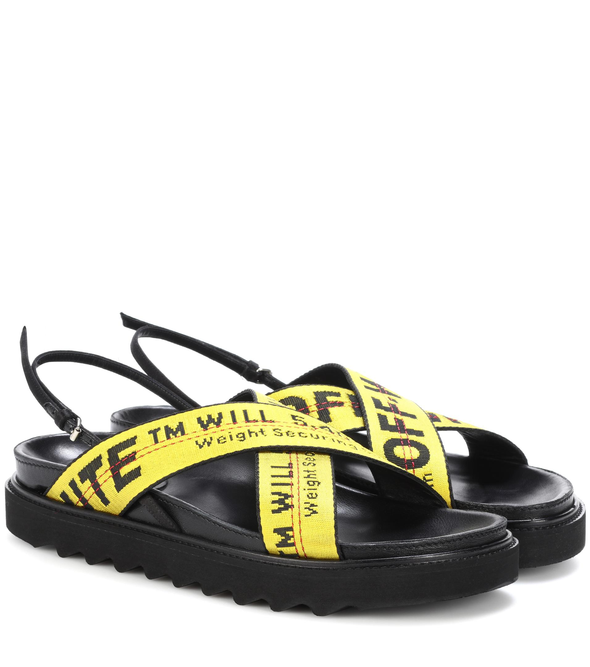 Off-White C/O Virgil Abloh LOGO Slider - Black/Yellow Slides Sandal