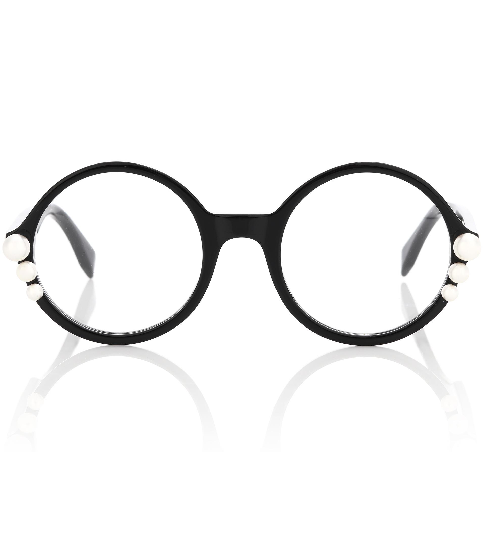 2c815541d84 Lyst - Fendi Ribbons And Pearls Round Glasses in Black