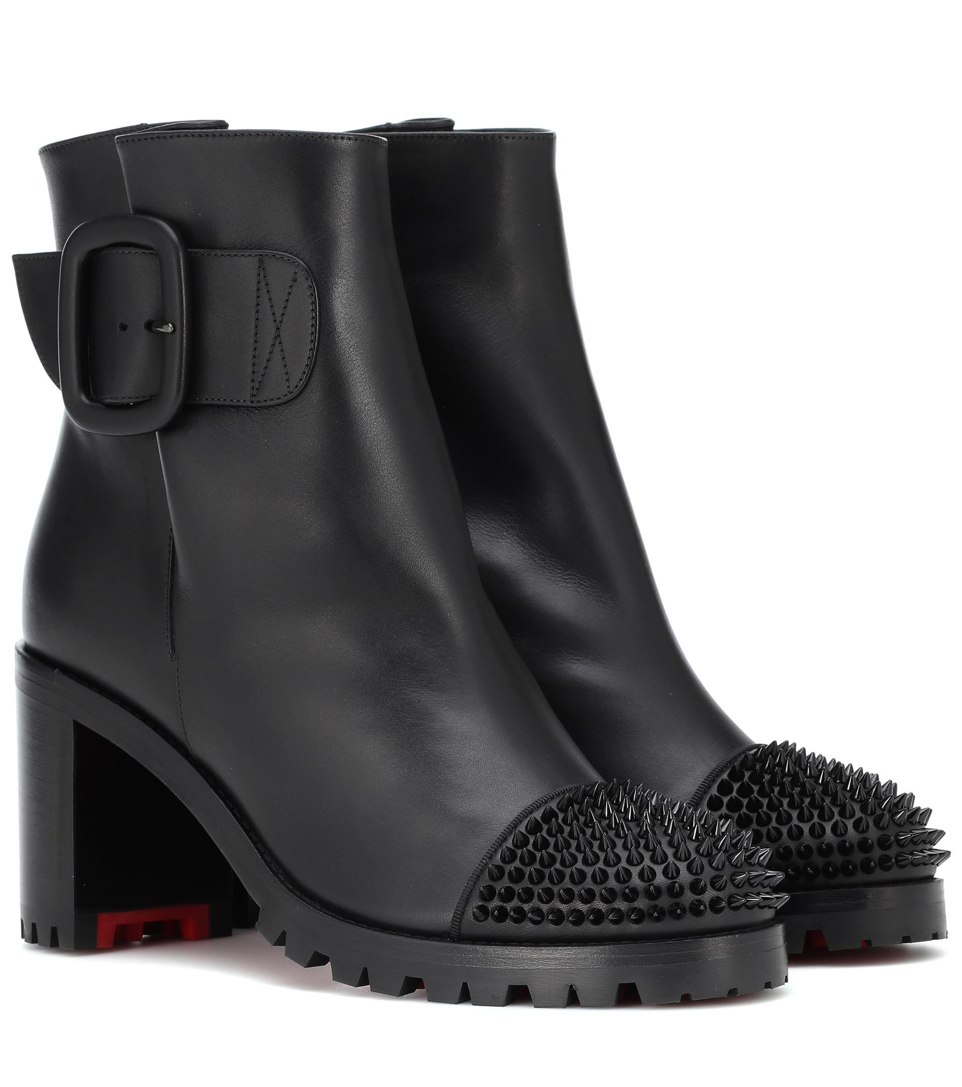 3edea04bc71 Lyst - Christian Louboutin Olivia Snow 70 Leather Ankle Boots in Black