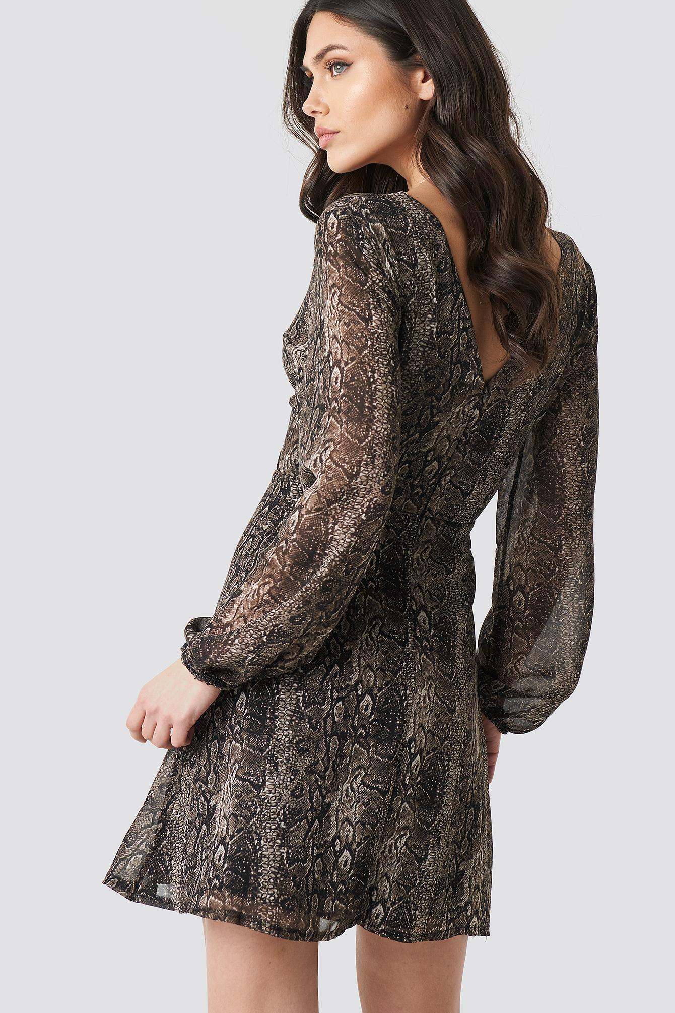 879205be61 Trendyol Double Breasted Snake Dress Brown in Brown - Lyst