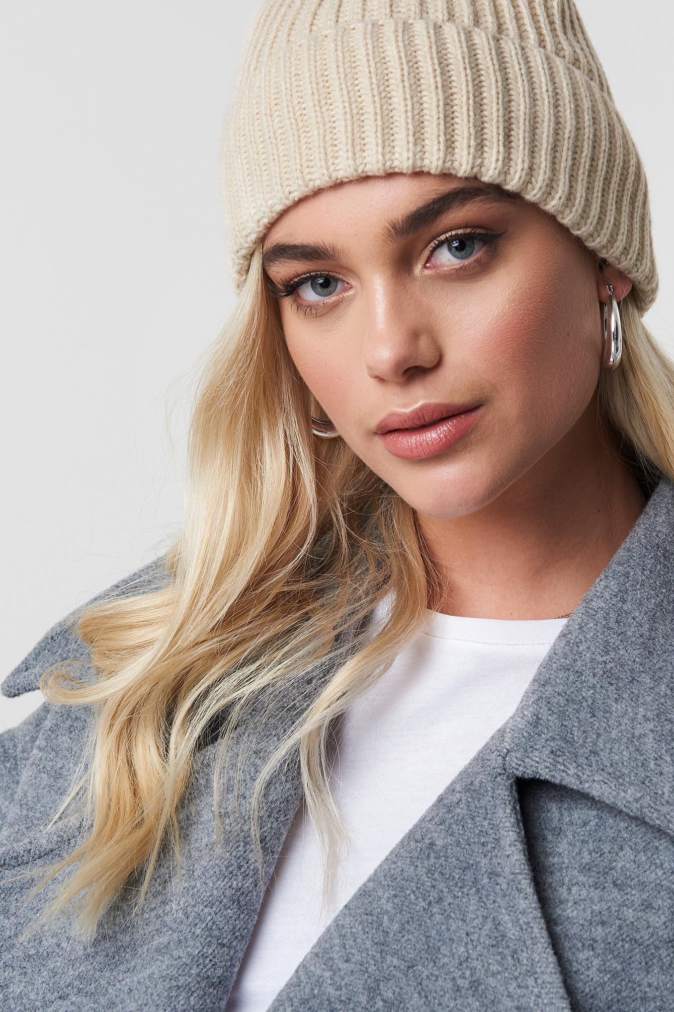 c1d789a47cd79 Lyst - Na-Kd Basic Knitted Beanie Beige in Natural