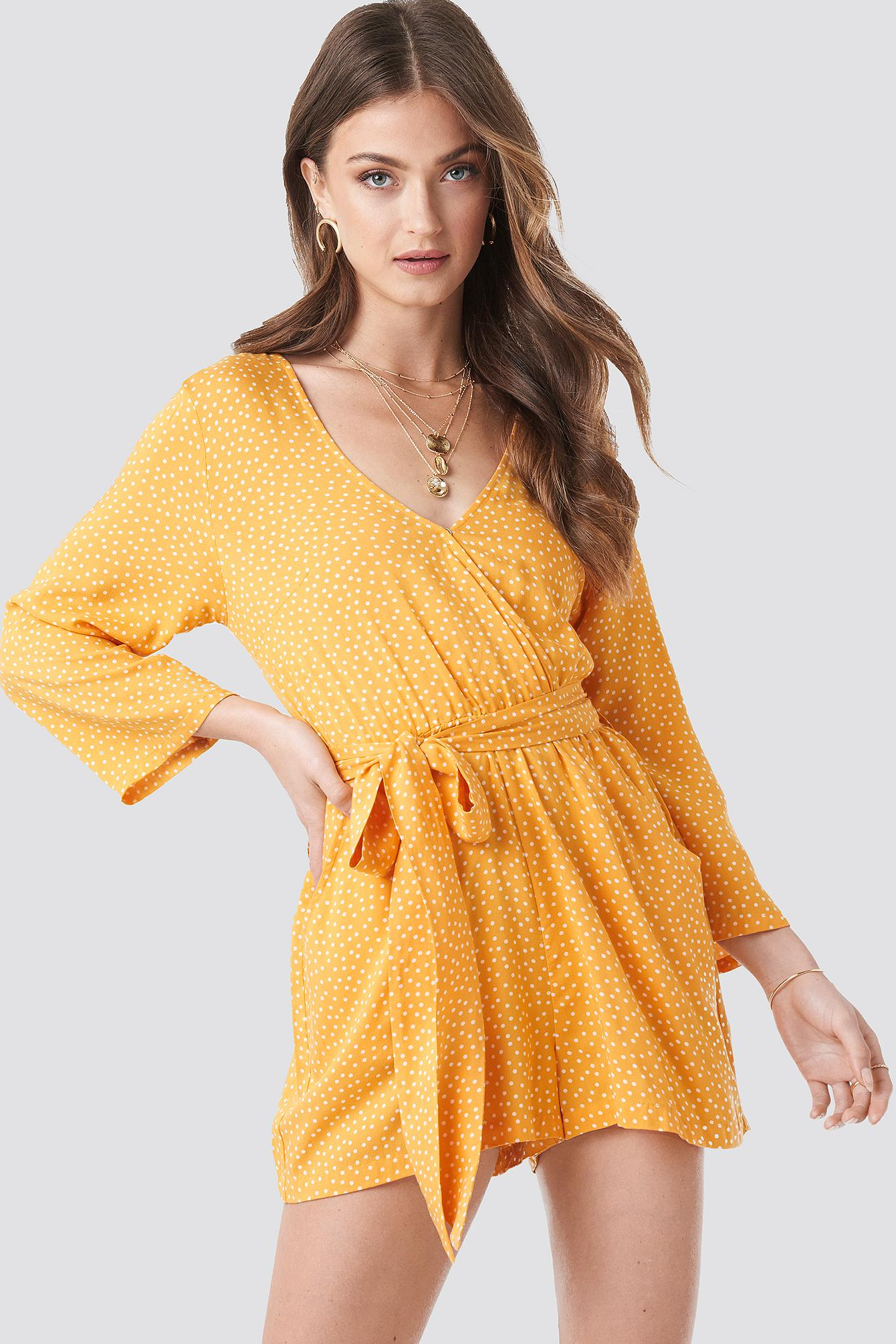 126899759b3 NA-KD Wrap Playsuit Yellow Dots in Yellow - Lyst