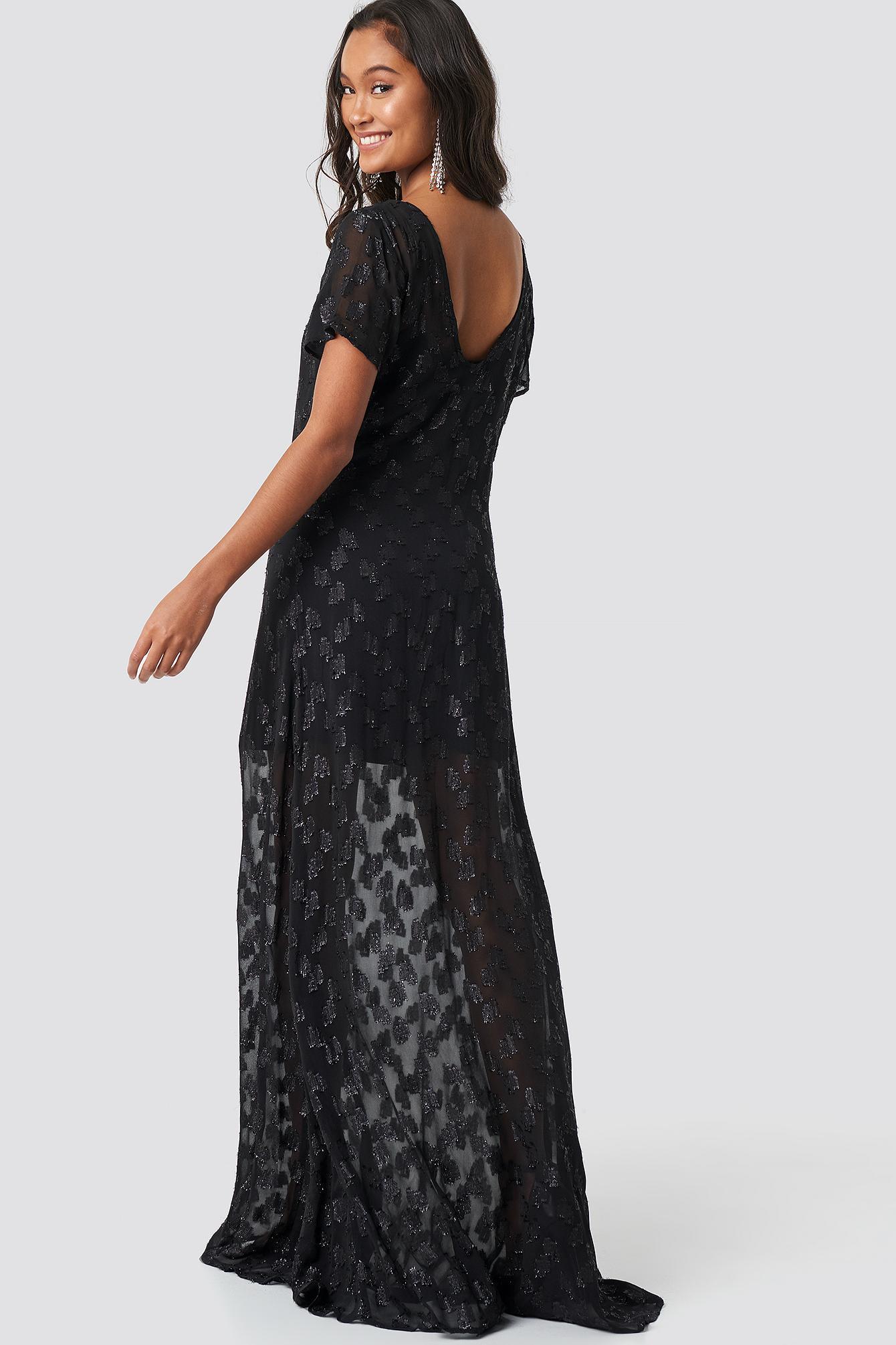 7c271c21 ... Sheer Glitter V-neck Maxi Dress Black - Lyst · Visit NA-KD. Tap to  visit site