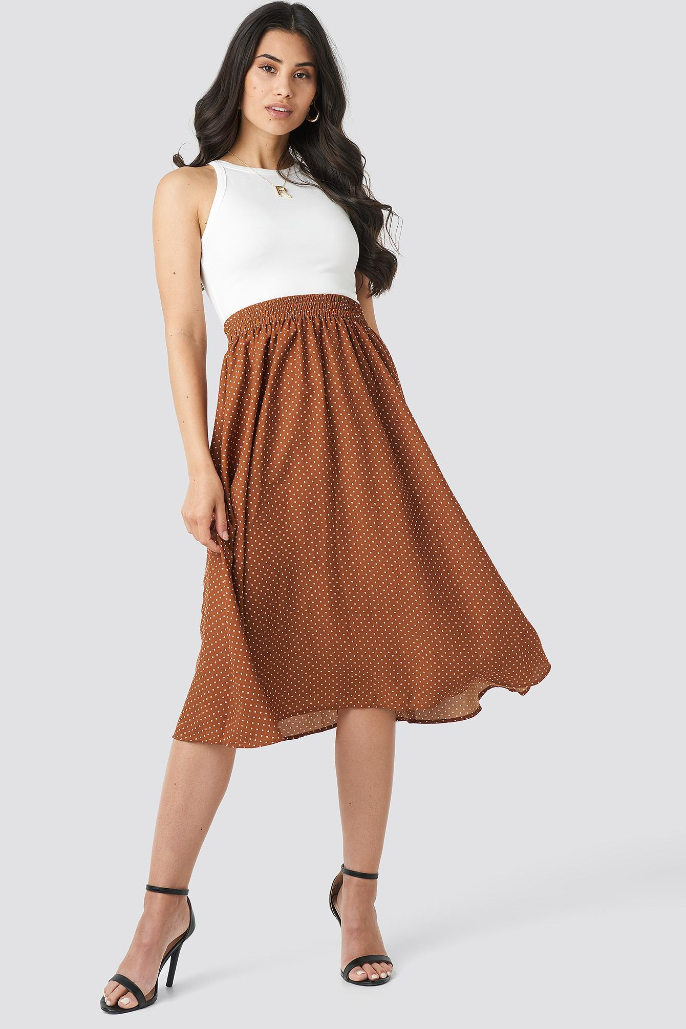 36c45765c5 NA-KD Dotted Midi Skirt Brown in Brown - Lyst