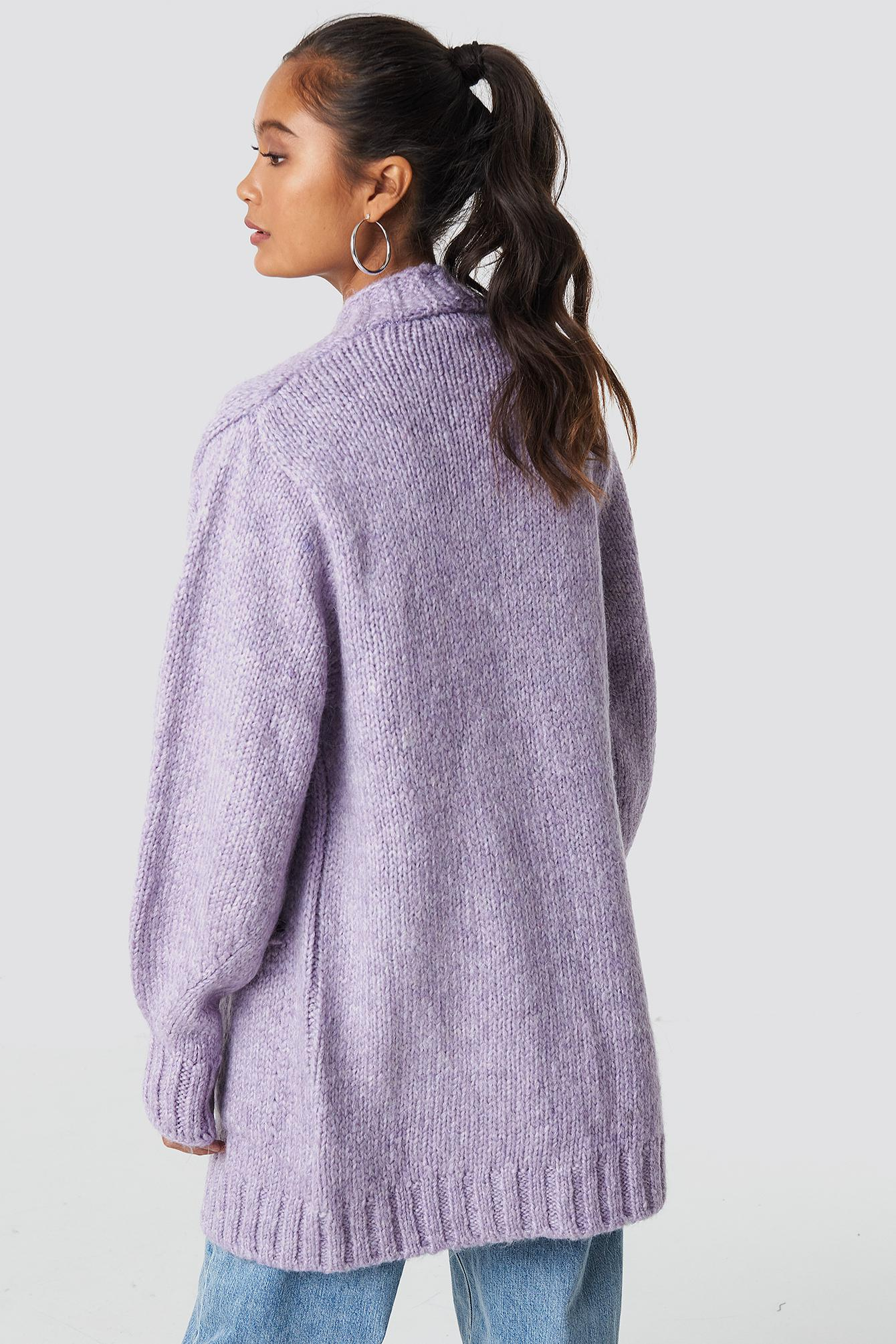 75735b9cc477ca Lyst - Trendyol Long Knitted Milla Cardigan Lila in Purple