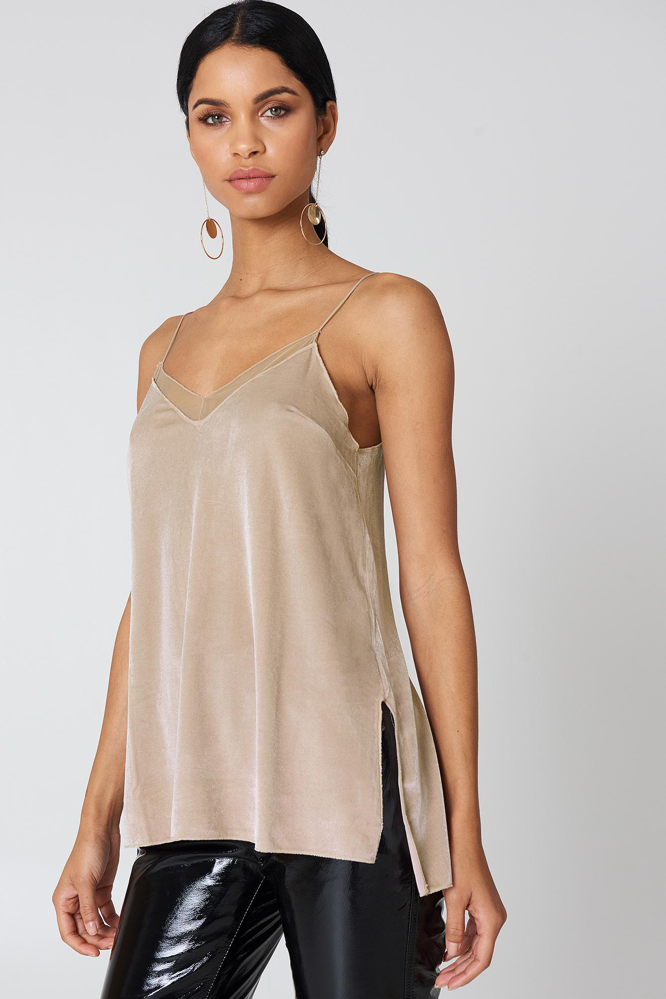 c17b01ecfe9 Lyst - Free People Velvet Solid Tank Top in Natural