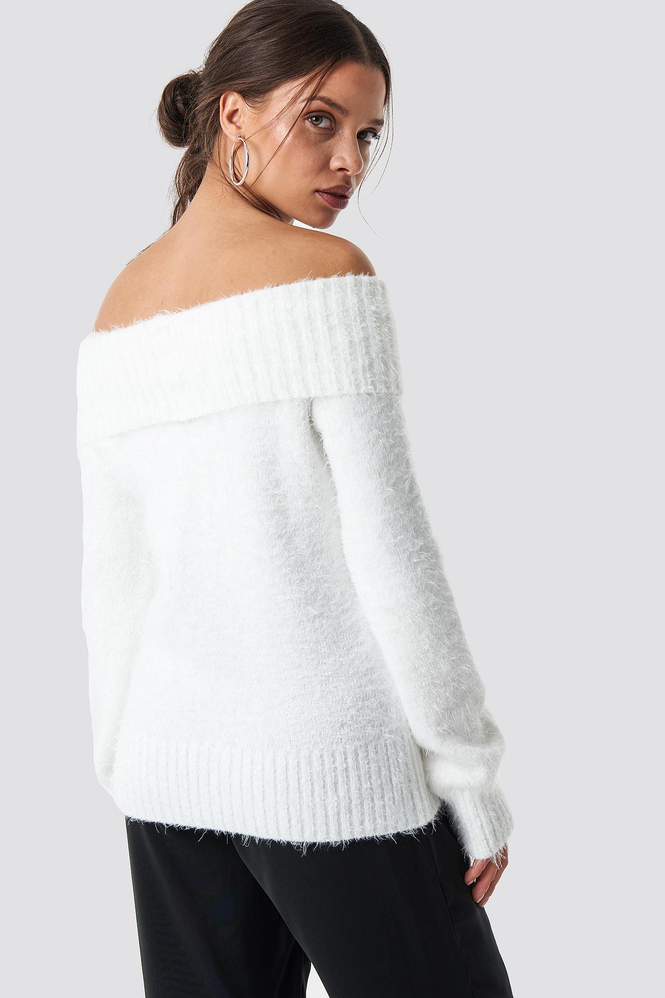 f80d338df8ac NA-KD - Fluffy Off Shoulder Knit White - Lyst. View fullscreen