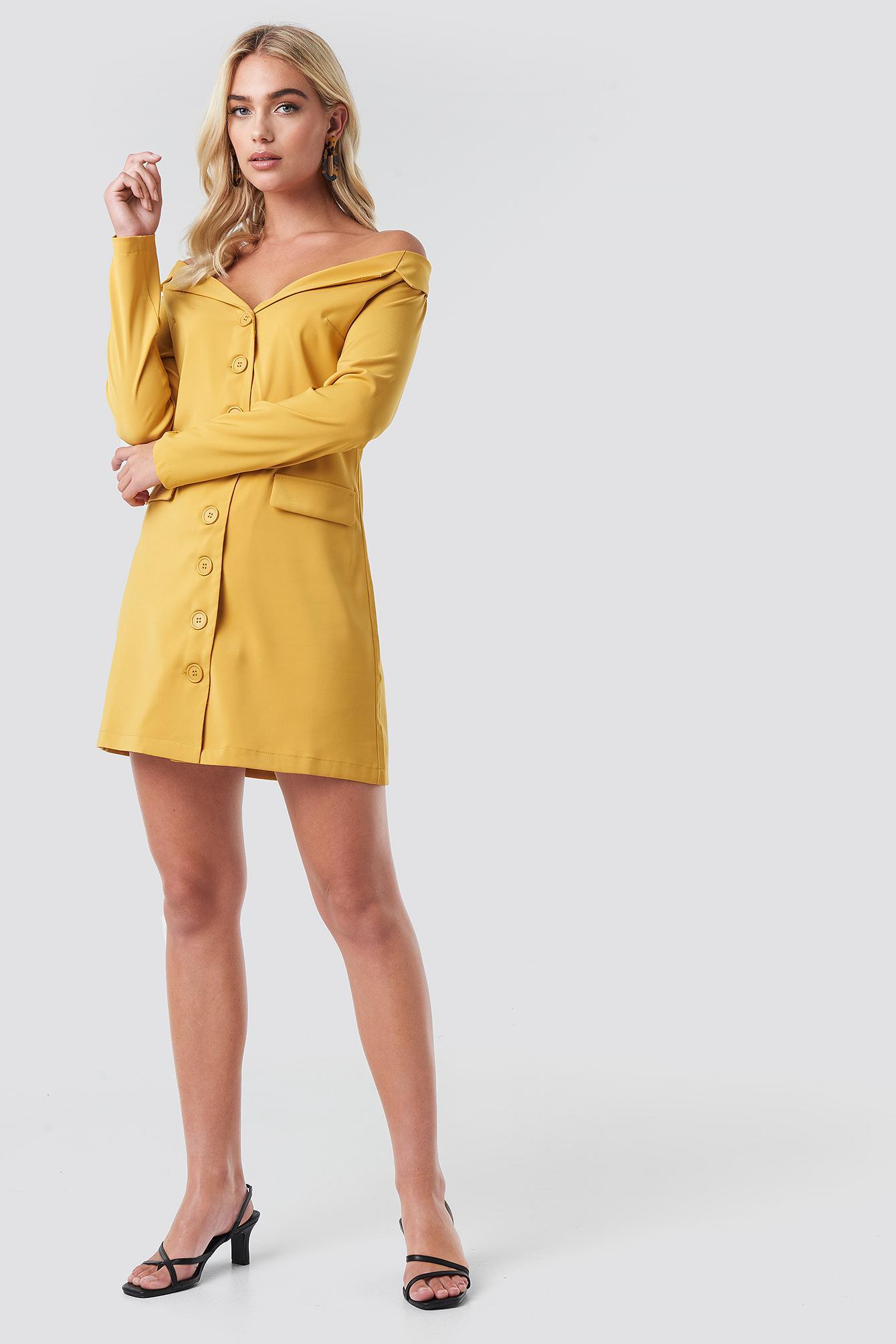 5fe41eb88297 NA-KD - Off Shoulder Blazer Dress Mustard Yellow - Lyst. View fullscreen