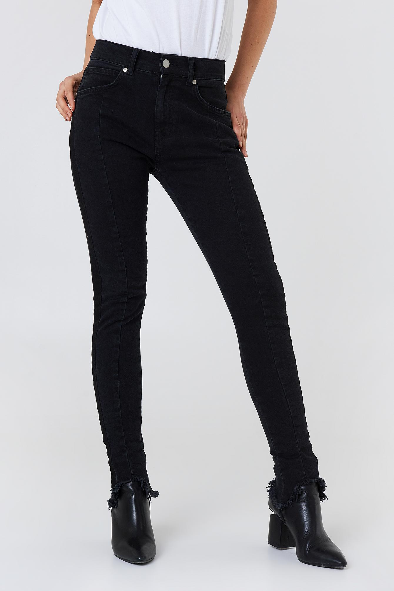 cfb6a2fd99a NA-KD Rounded Hem Panel Jeans Black in Black - Save 50% - Lyst