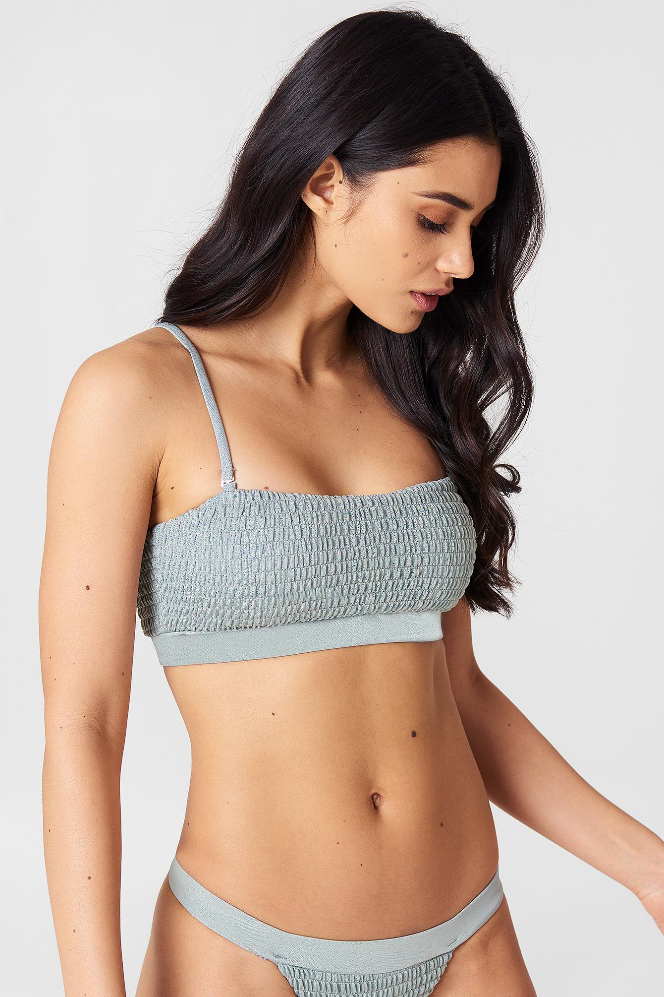 656617d2e86b7 Hot Anatomy Sporty Wrinkled Bikini Top in Gray - Lyst