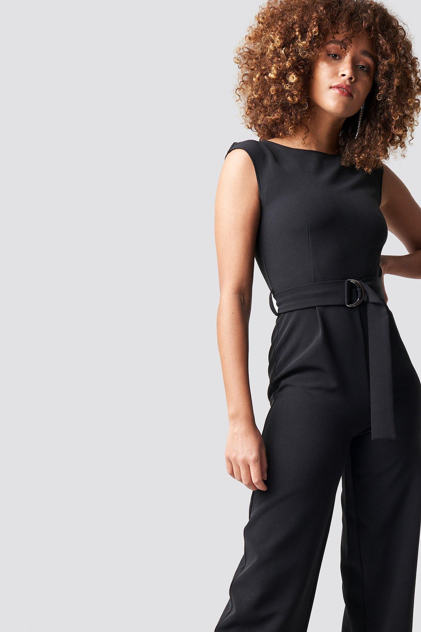 9a0d9e304881 Women s Belted Waist Jumpsuit Black