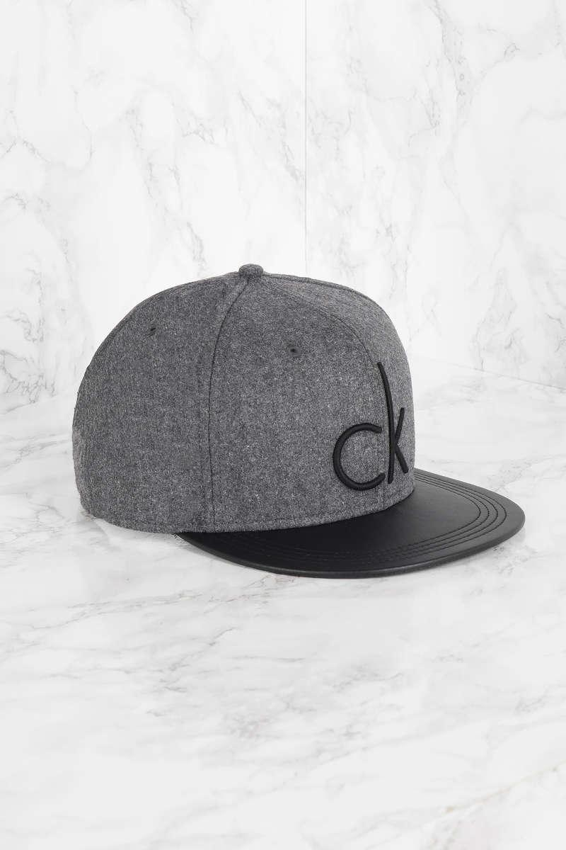 calvin klein maxer wool logo cap in gray lyst. Black Bedroom Furniture Sets. Home Design Ideas