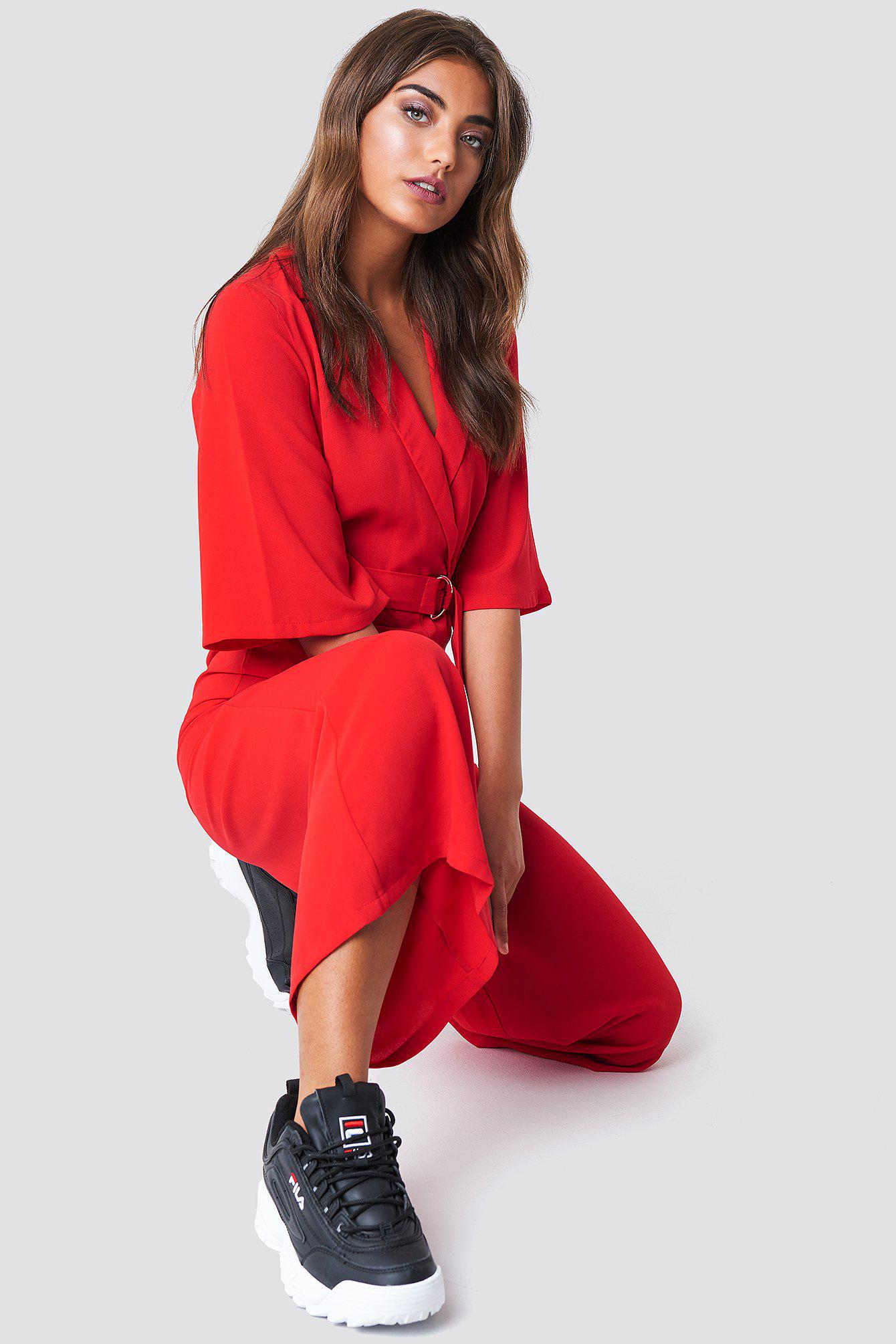 c9b61dee0a70 NA-KD Belted Cropped Jumpsuit Red in Red - Lyst