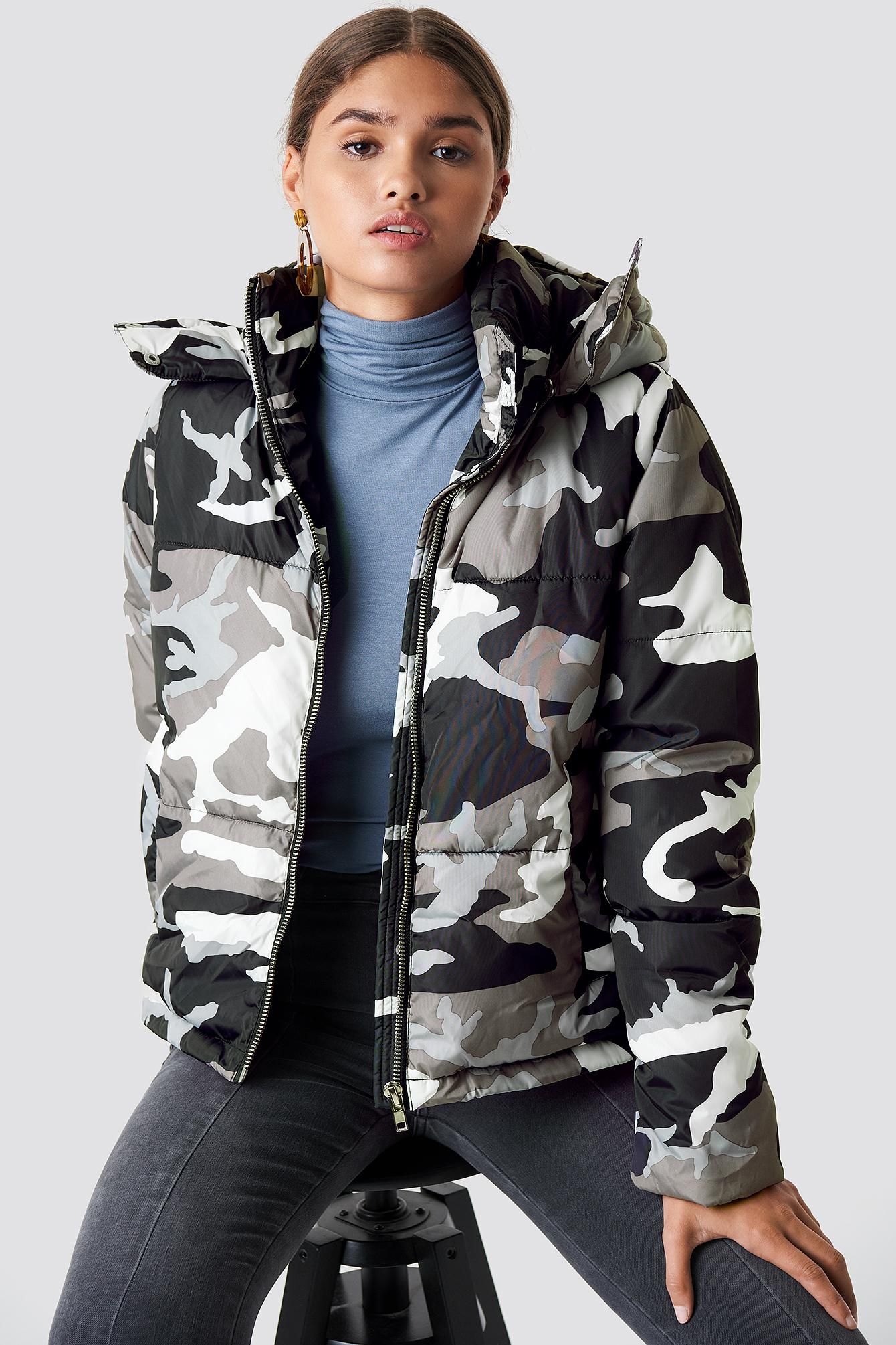1ba2f0d5025ac NA-KD Camo Padded Jacket Camo/grey in Gray - Lyst