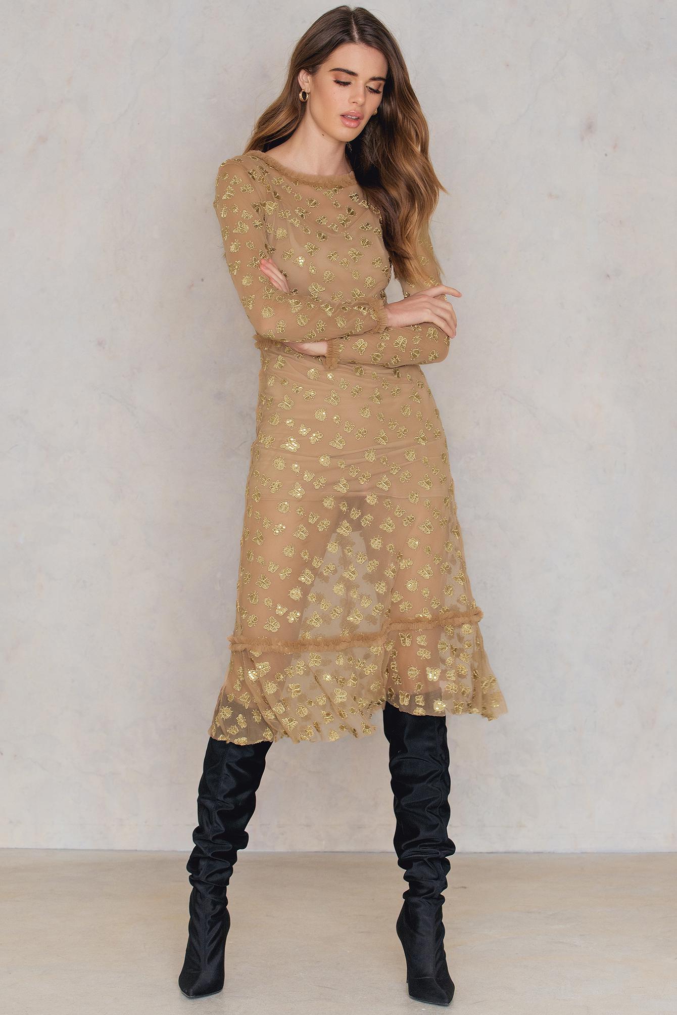 29e84eae7b For Love & Lemons Golden Garden Tulle Midi Dress in Metallic - Lyst