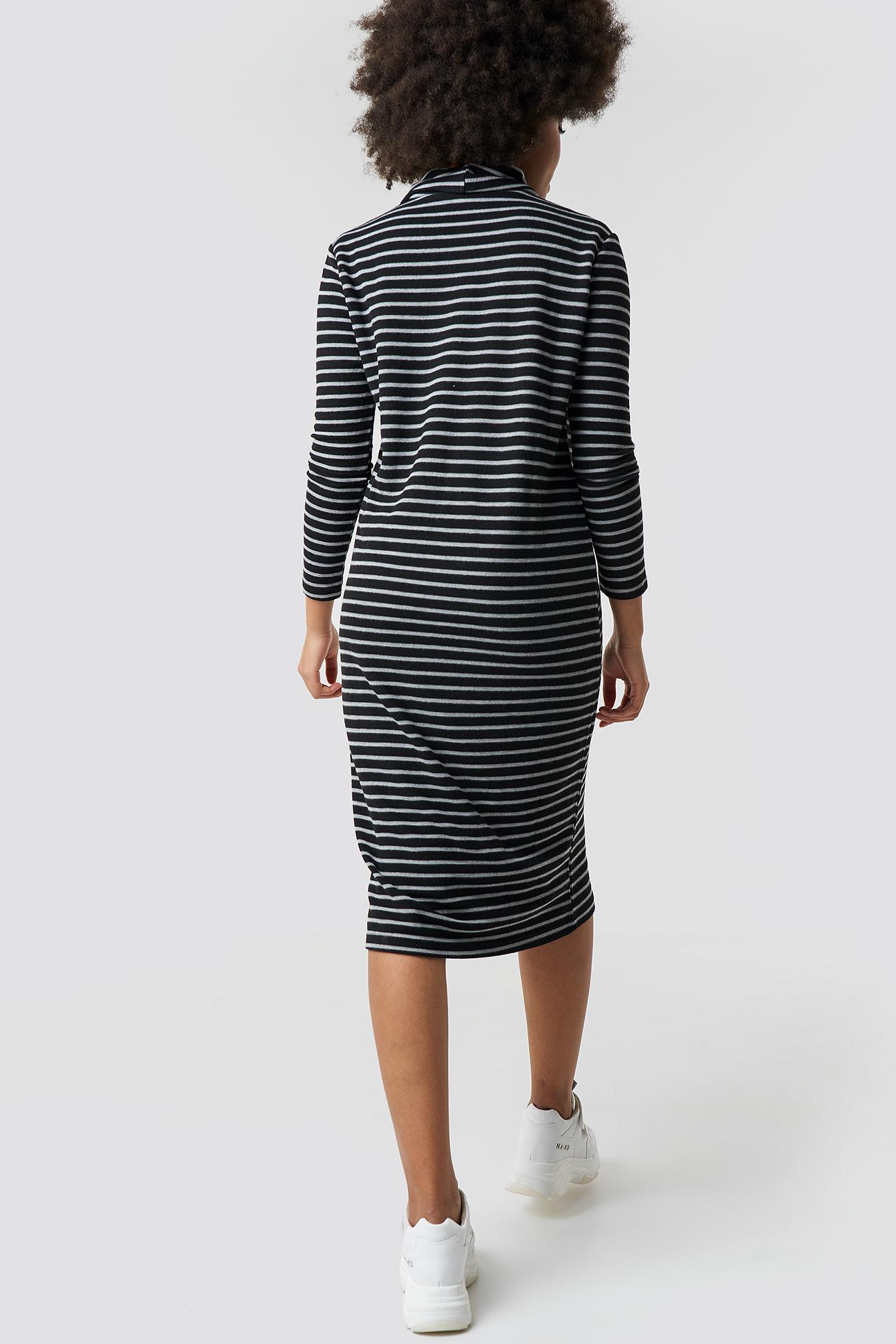 72af08c4817 Trendyol - Striped Knitted Midi Dress Black - Lyst. View fullscreen