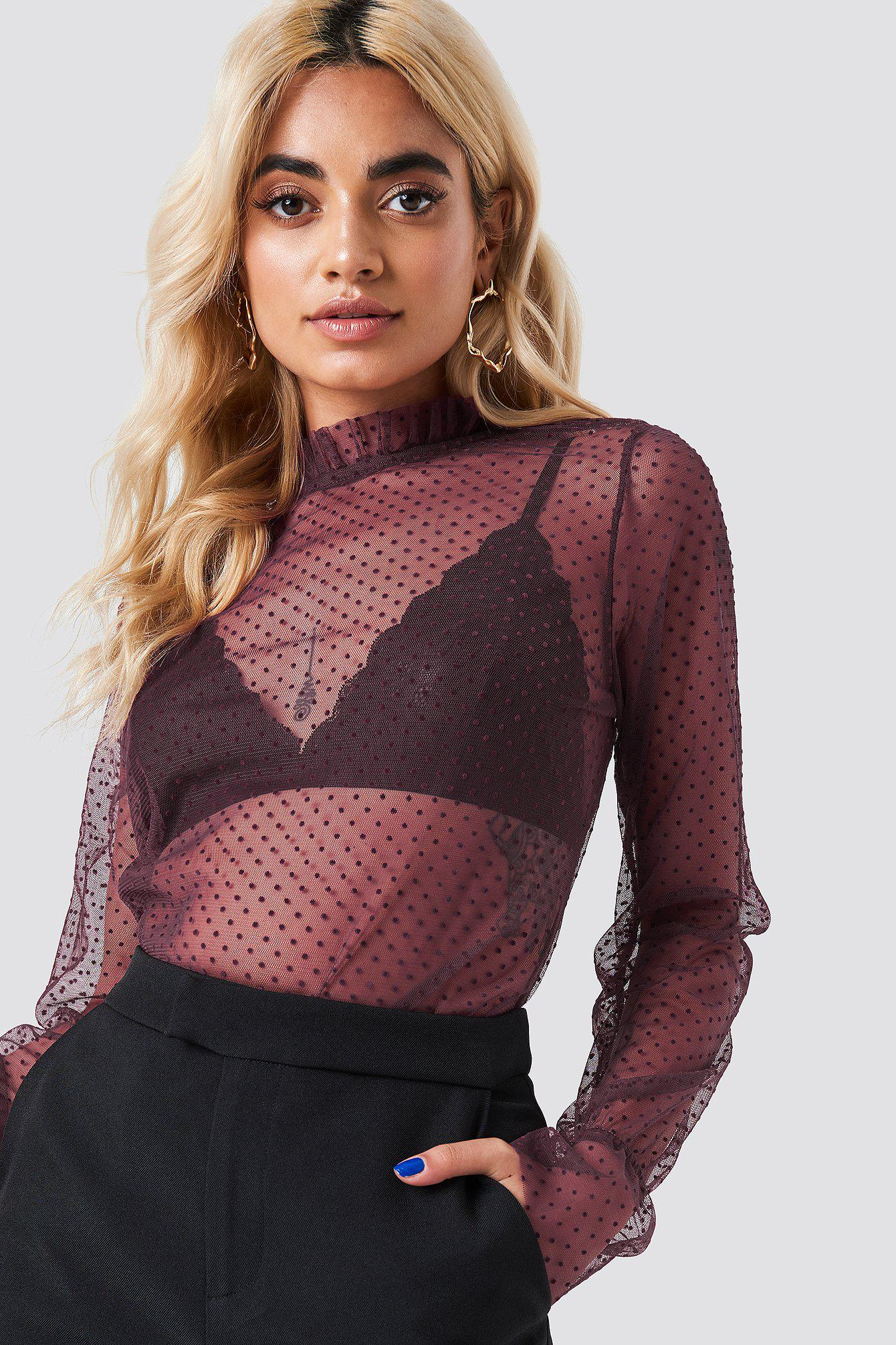 dd3b95314706f NA-KD Dotted Mesh Long Sleeve Top Wine Red in Red - Save 61% - Lyst