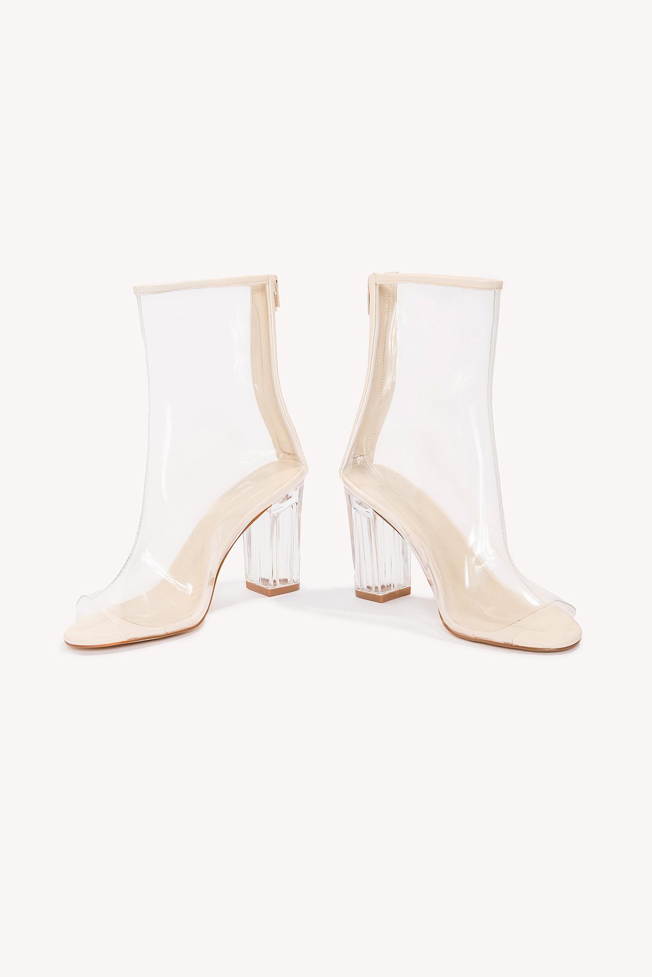 1a868eefc60 Lyst - NA-KD Transparent Mid Heel Boots