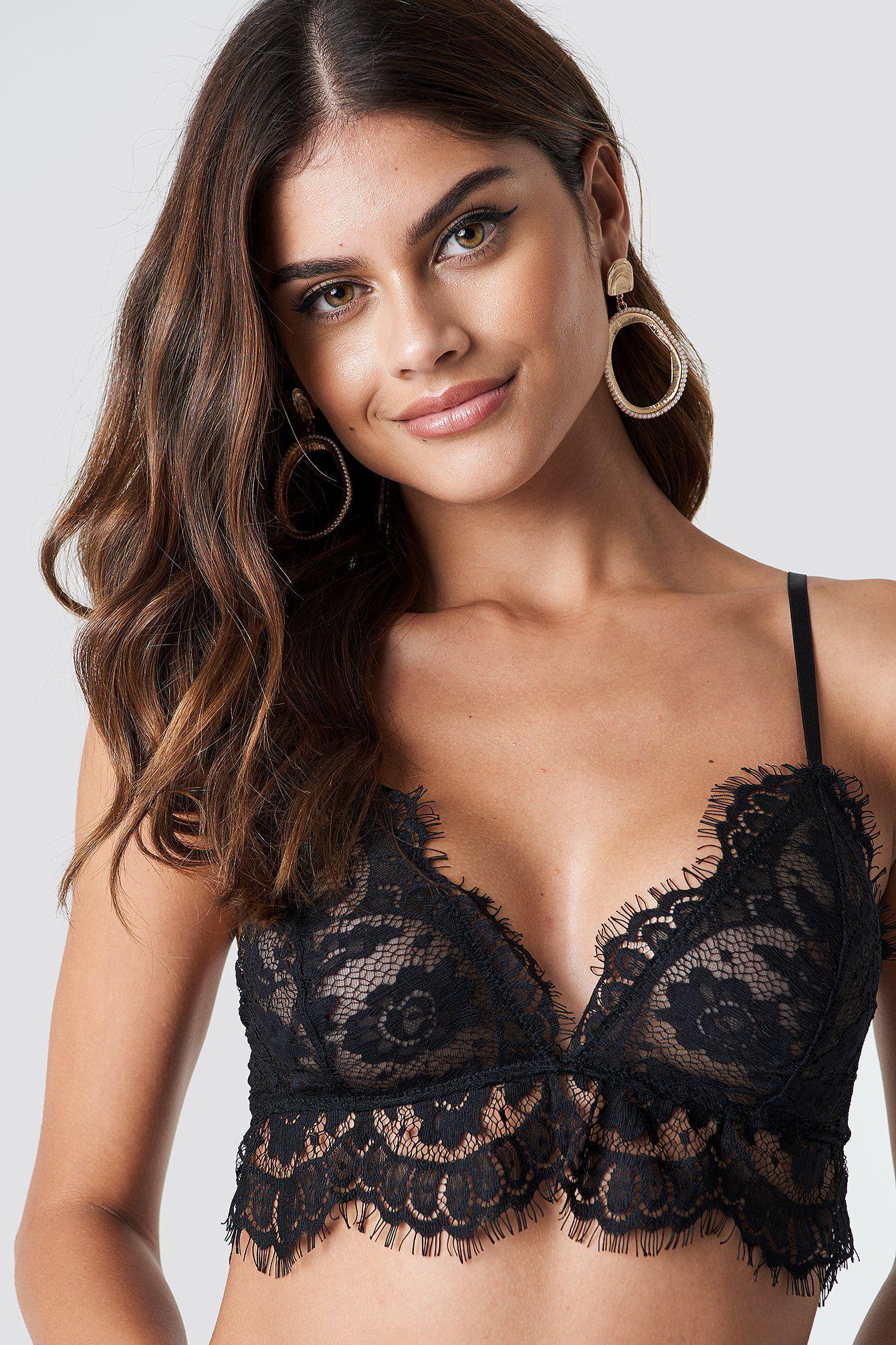 c5df12172c Lyst - NA-KD Lace Strap Bra Black in Black - Save 9%