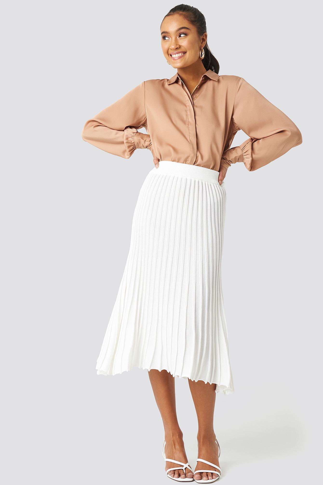 d2978c71e0 Trendyol Yol Pleated Midi Skirt White in White - Lyst