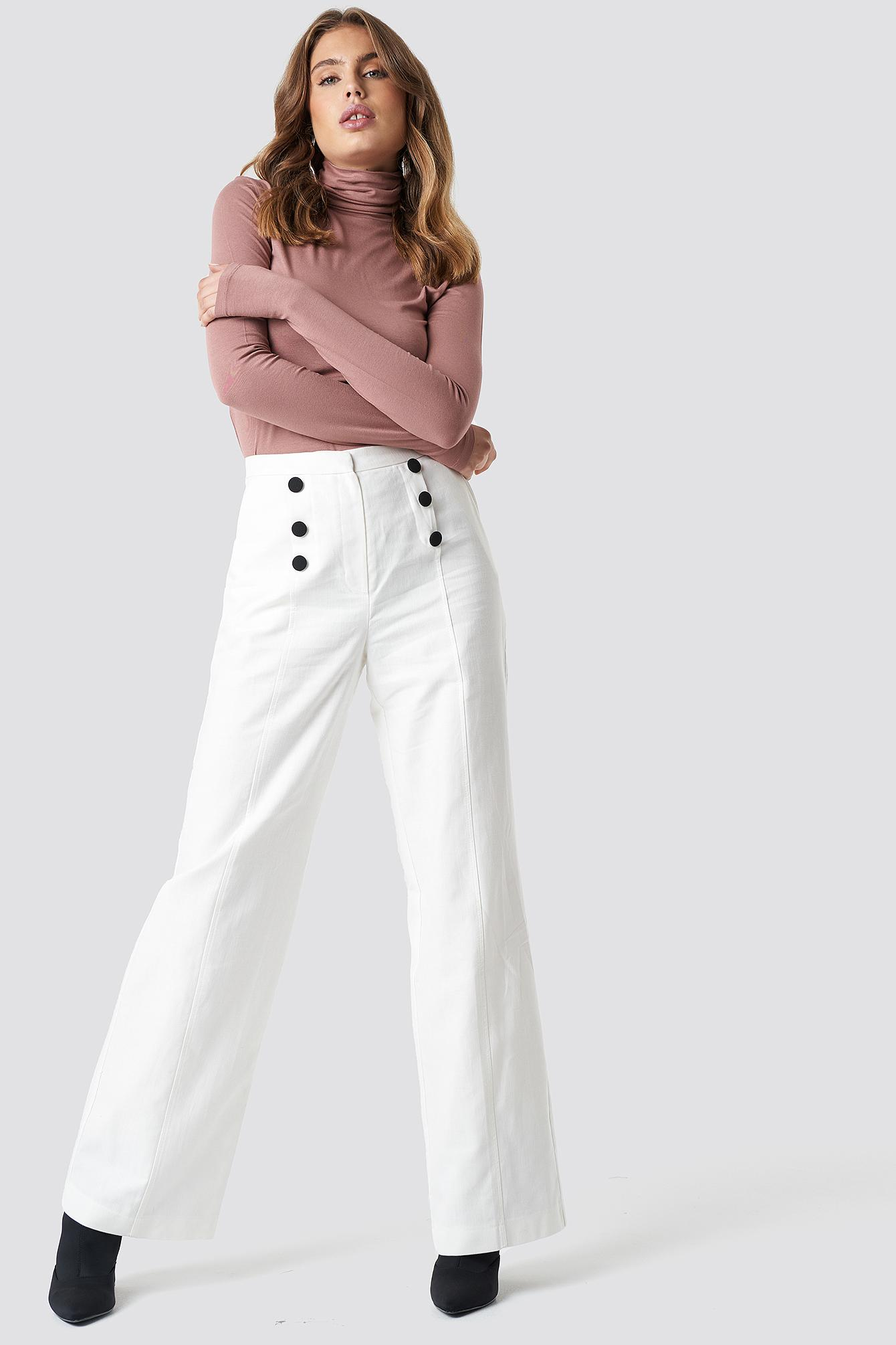 990f19476 Trendyol Front Button Detailed Trousers White in White - Lyst