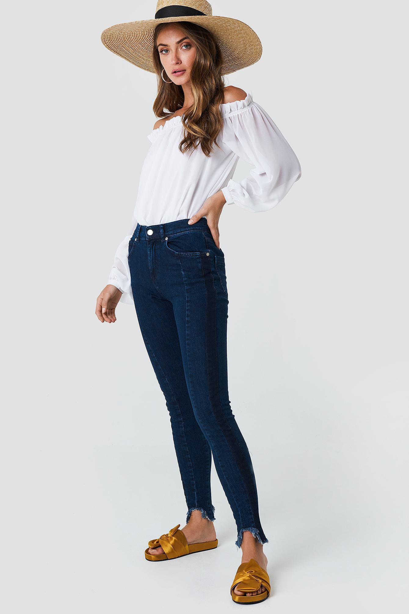 01febe5db54 Lyst - NA-KD Rounded Hem Panel Jeans Dark Blue in Blue