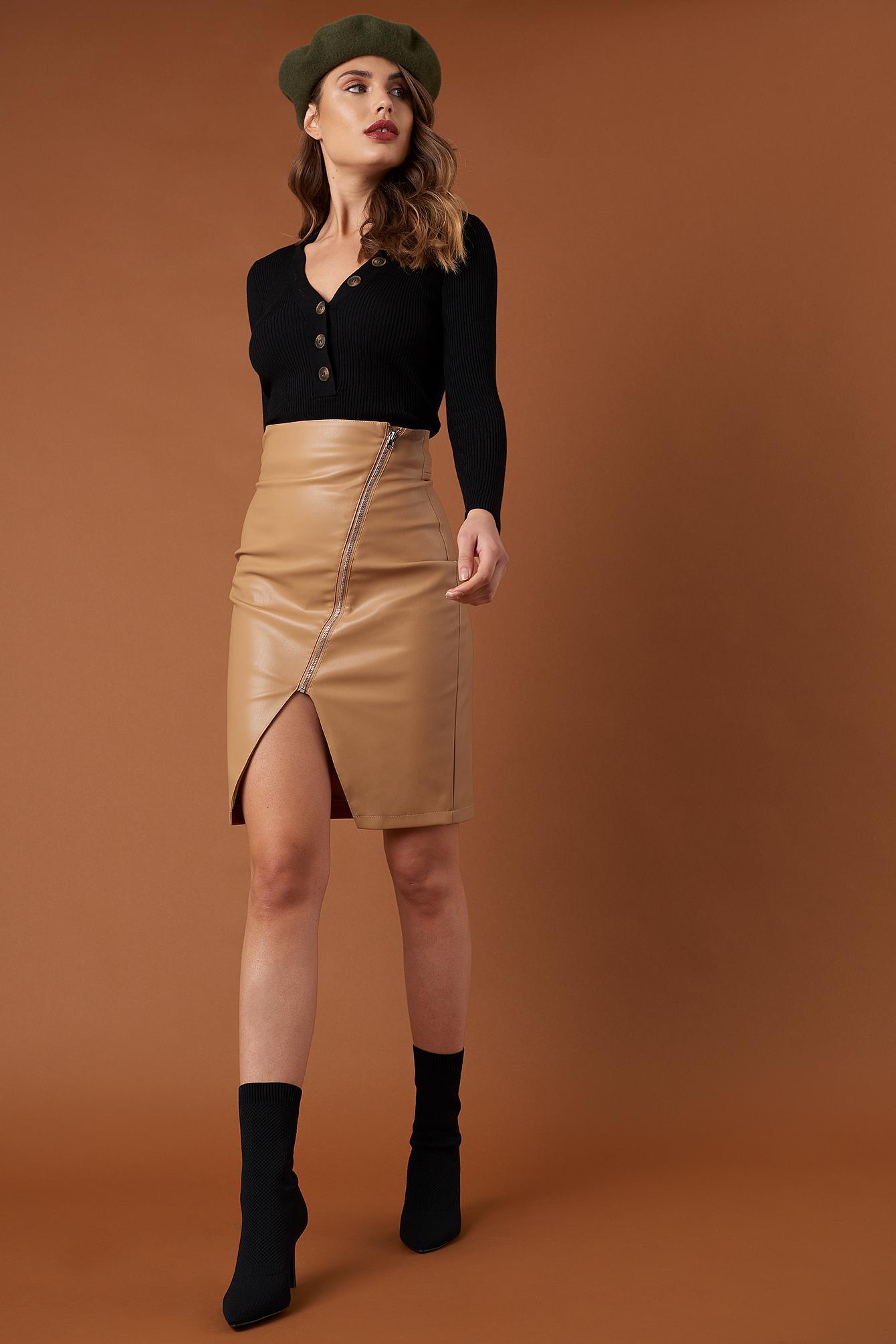 afaccf4456 NA-KD Front Zipper Pu Skirt Tan in Brown - Lyst