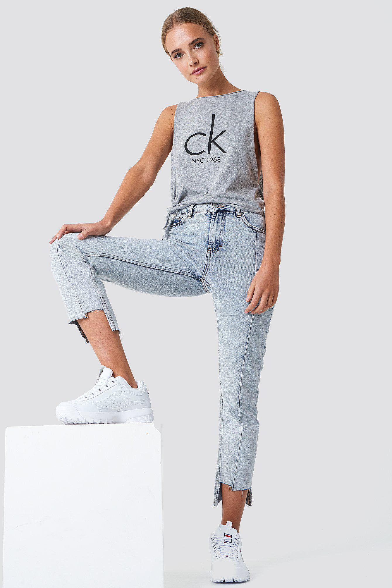 f52e345dcb836 CALVIN KLEIN 205W39NYC Side Knot Tank Top in Gray - Lyst