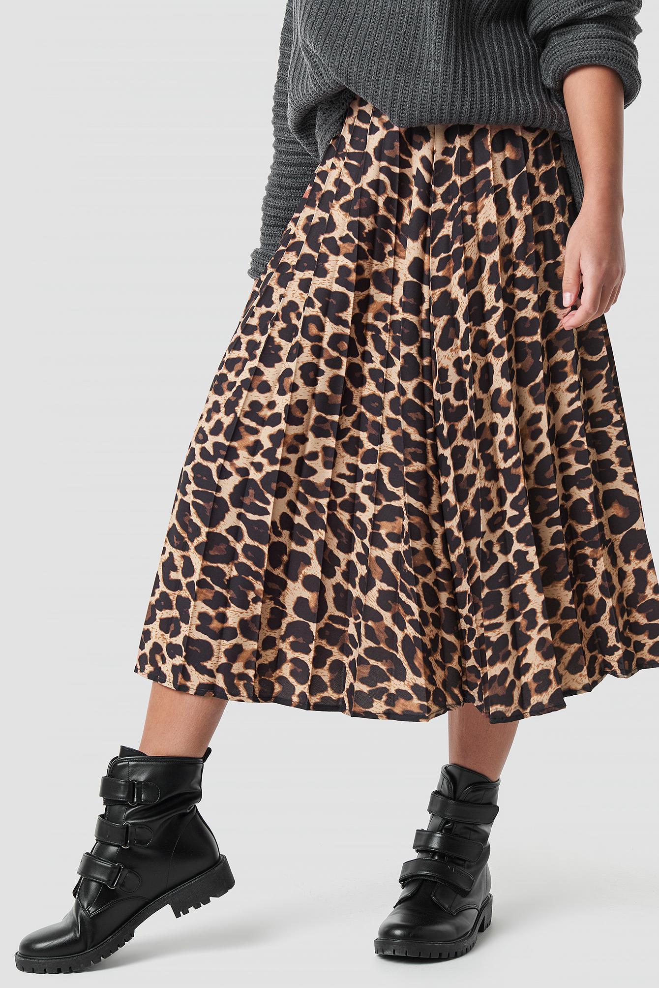 purchase cheap 63db4 5292a Na Kd Side Split Leopard Print Skirt Red Leopard Skirts