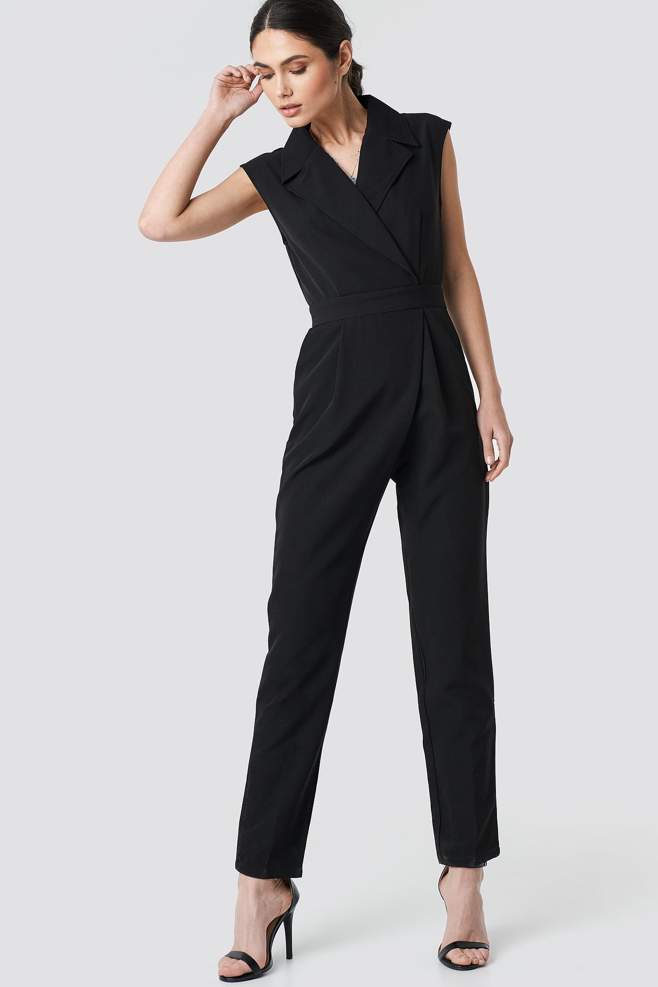 e1943e8cdc15 Lyst - NA-KD Collared Waistband Jumpsuit Black in Black