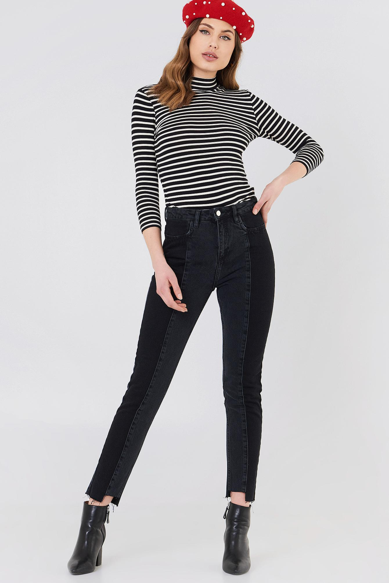 93d274da6db Lyst - NA-KD Panel Jeans Black in Black - Save 20.33898305084746%