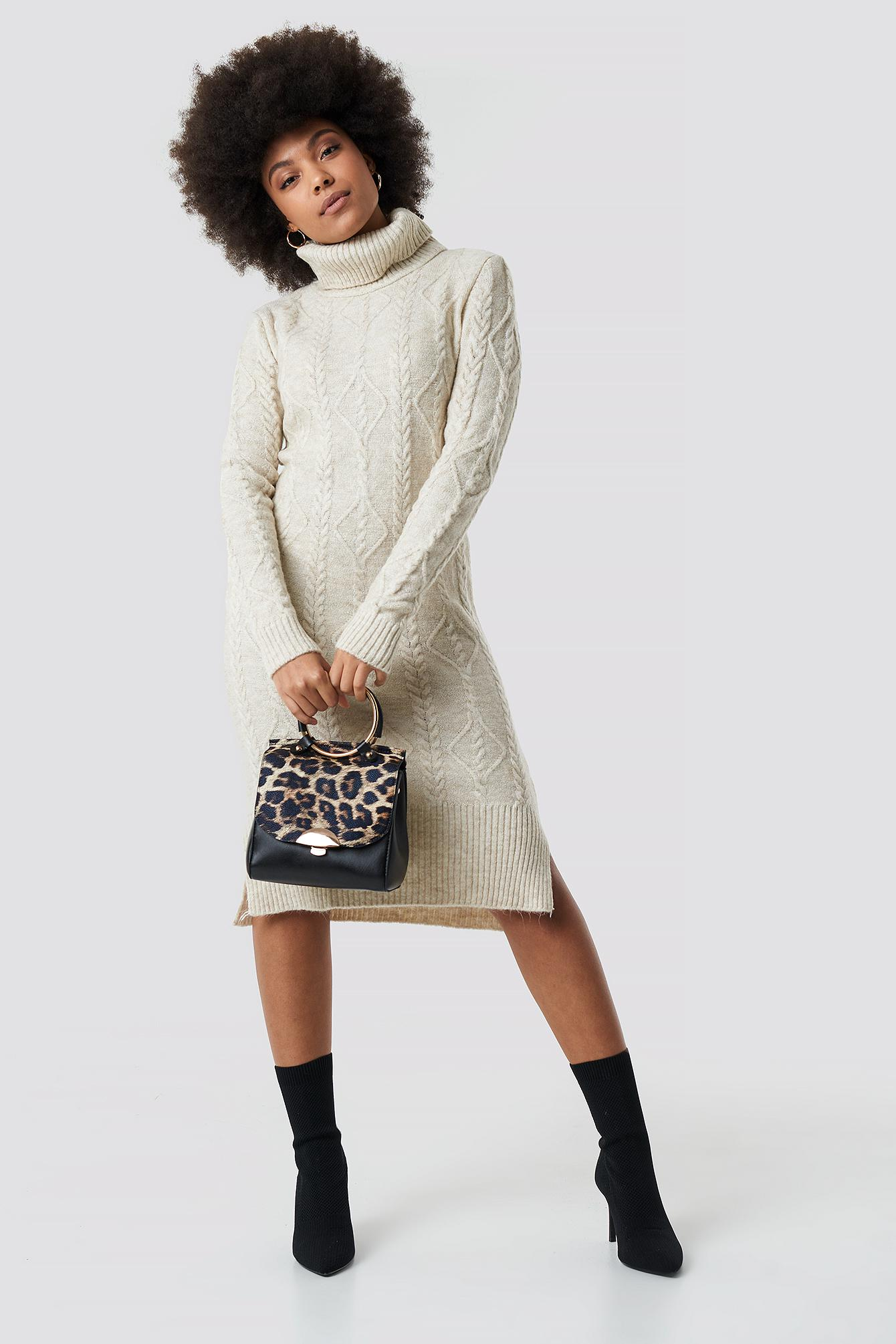 f6d9754c3 Lyst - Trendyol Knitted Detail Sweater Dress Stone