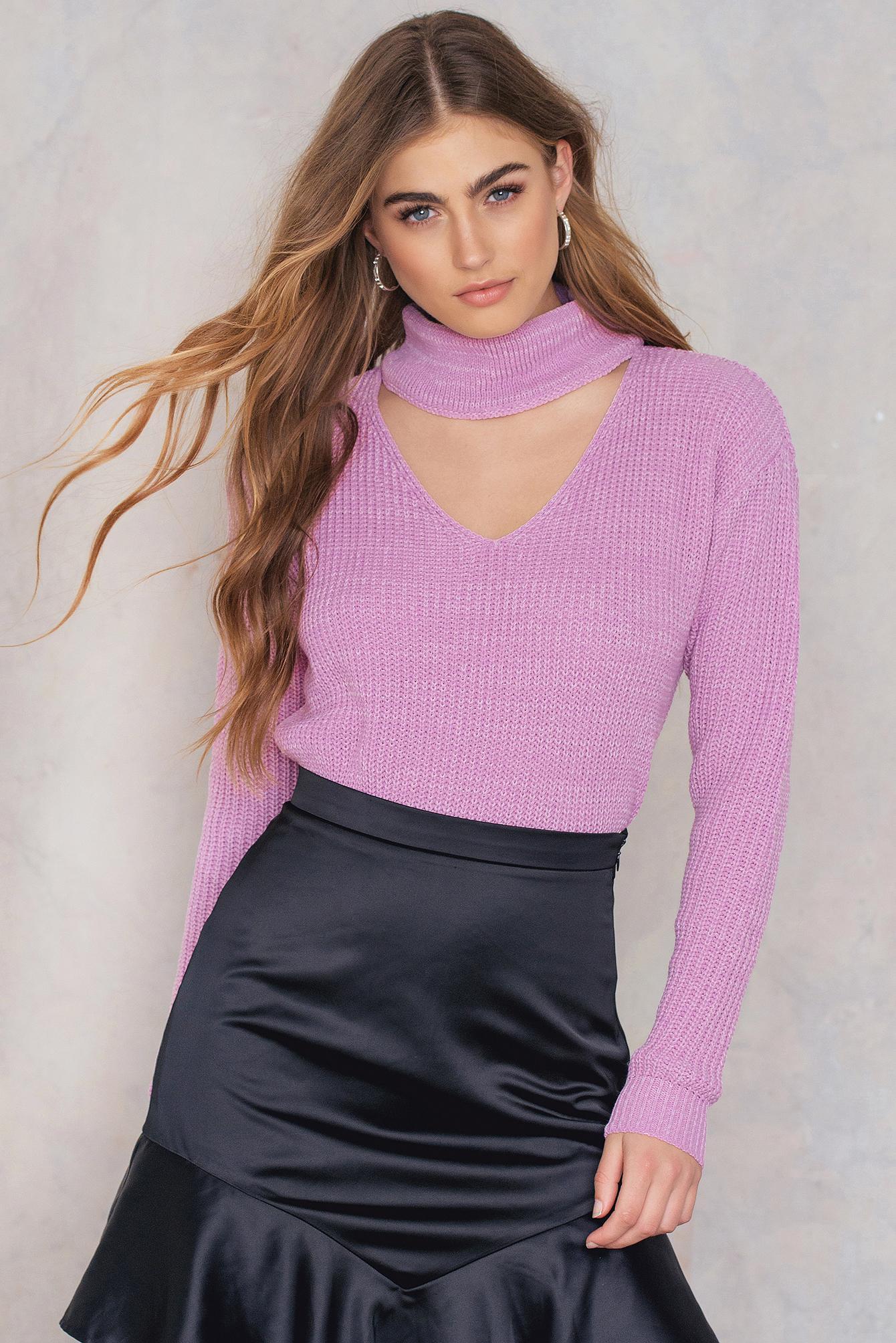 Lyst - Glamorous Choker Neck Jumper in Purple - photo#9