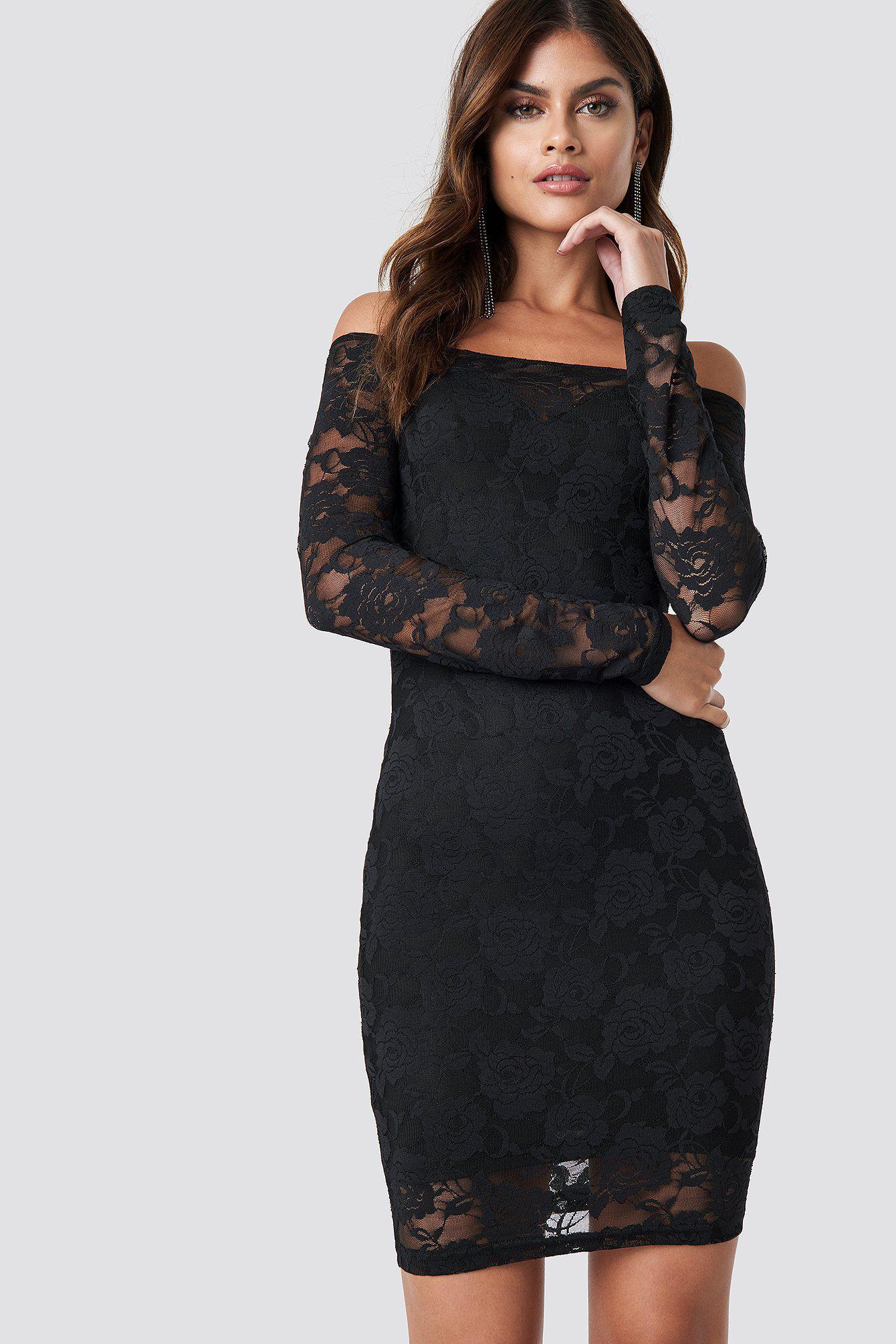 7695b91d447 NA-KD Off Shoulder Lace Dress Black in Black - Lyst