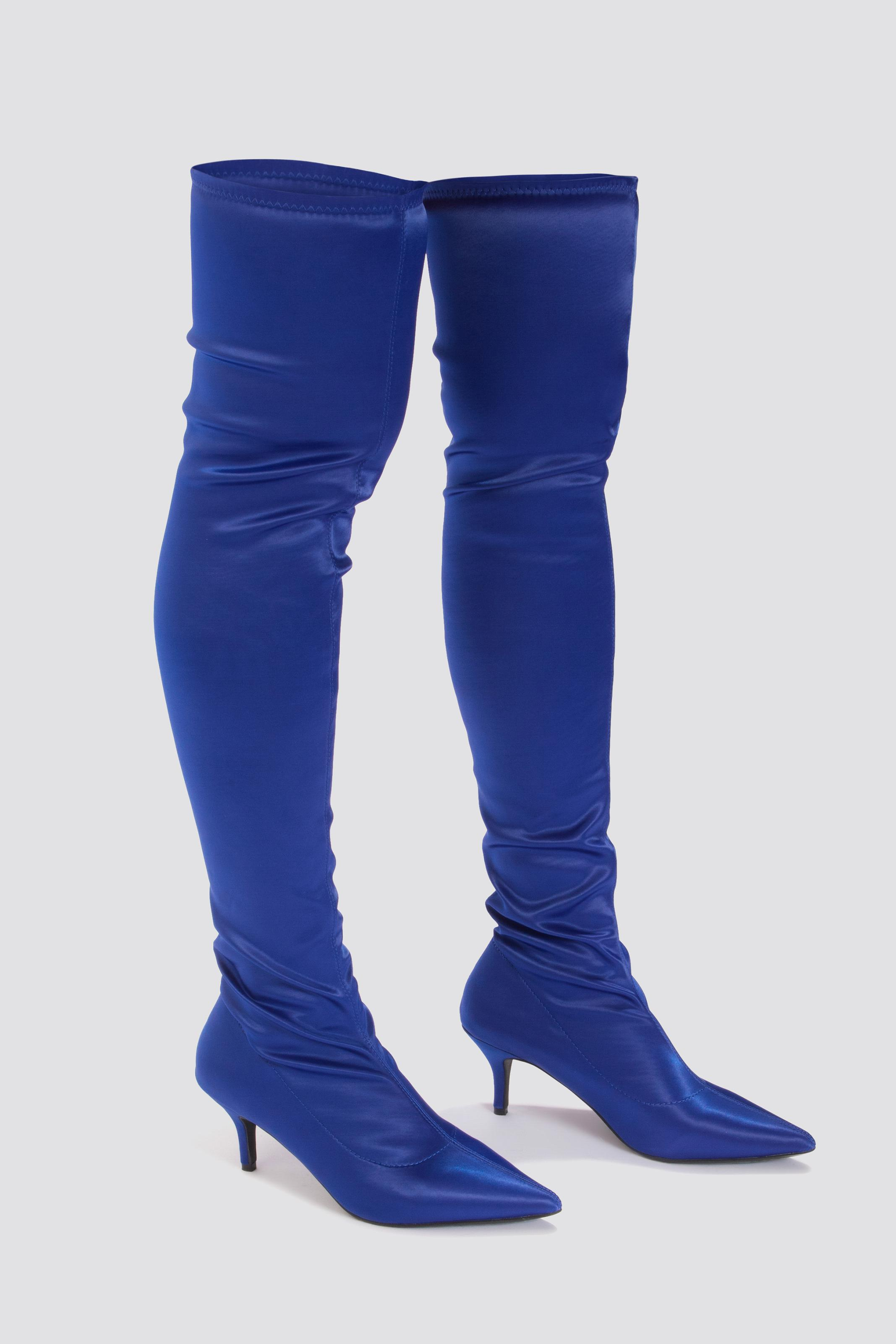 separation shoes e1000 fe846 Lyst - NA-KD Knee High Satin Sock Boot Cobalt in Blue
