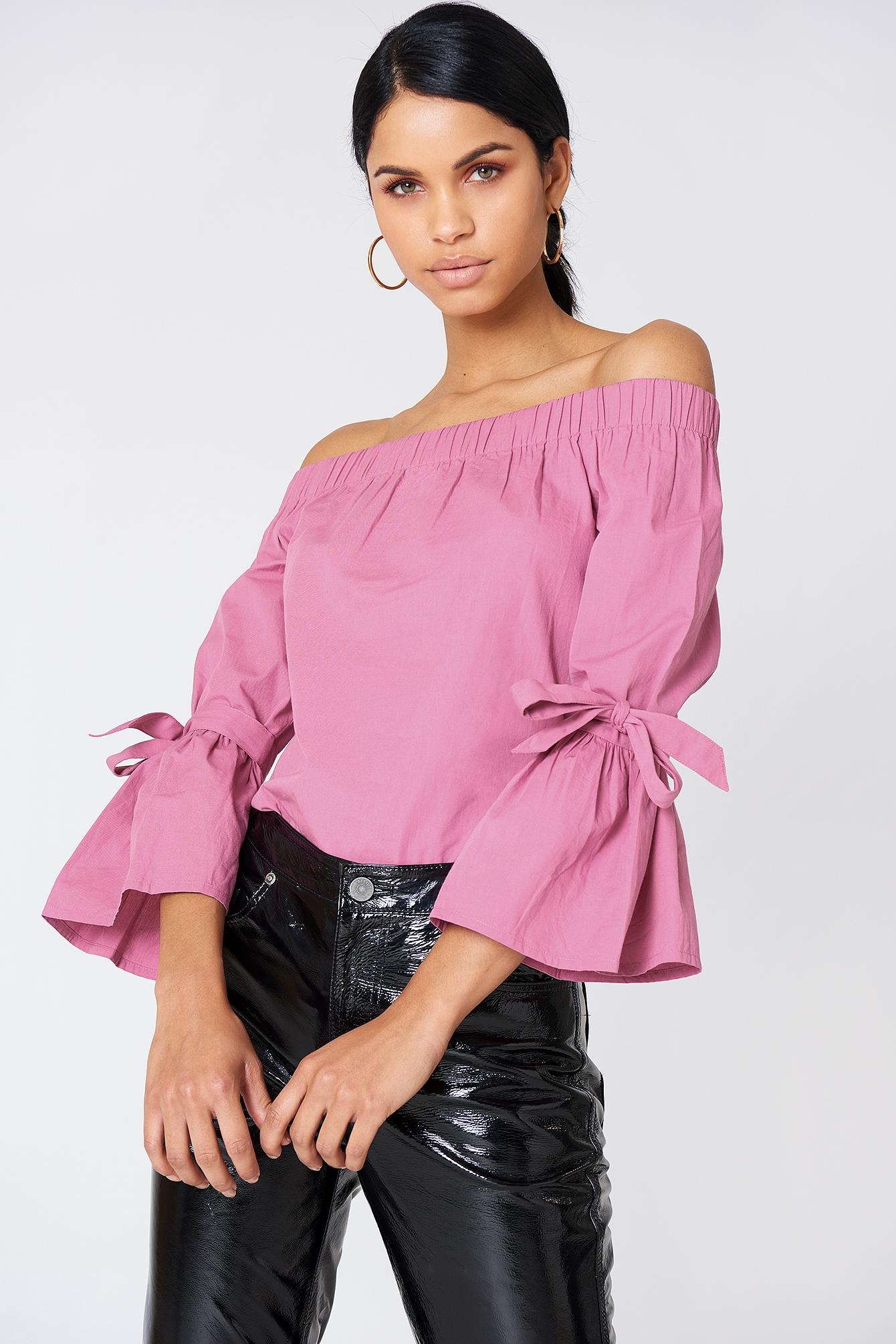 f0e6789ce60dab NA-KD - Off Shoulder Tie Sleeve Top Pink Rose - Lyst. View fullscreen