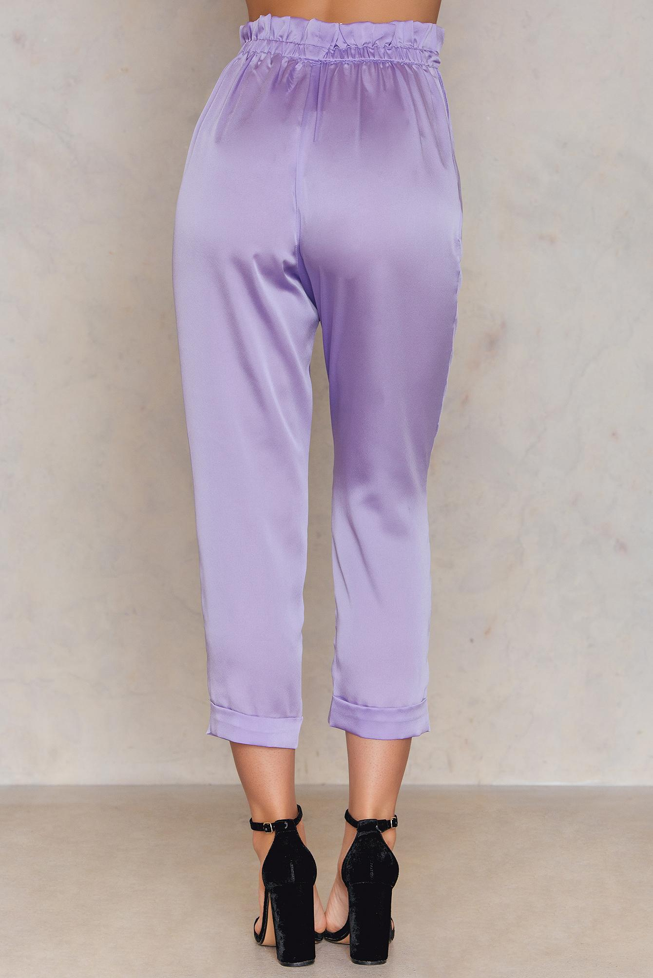364c8f283fe4 Lavish Alice Satin Paperbag Waist Trousers in Purple - Lyst