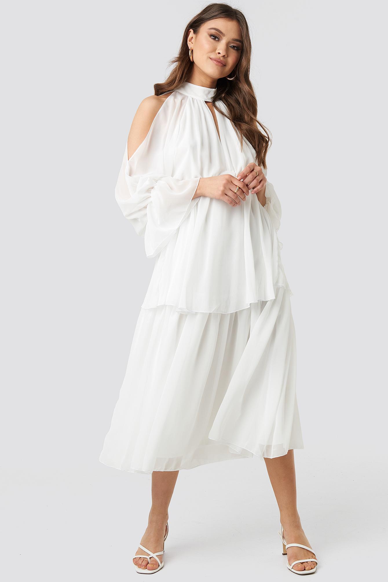 00671e01a Trendyol No Shoulder Long Sleeve Dress White in White - Lyst