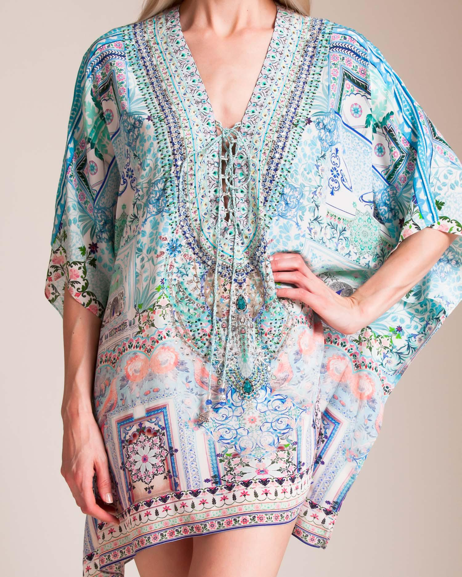 c3e34d3440 Camilla Lovers Retreat Short Lace Up Kaftan in Blue - Lyst