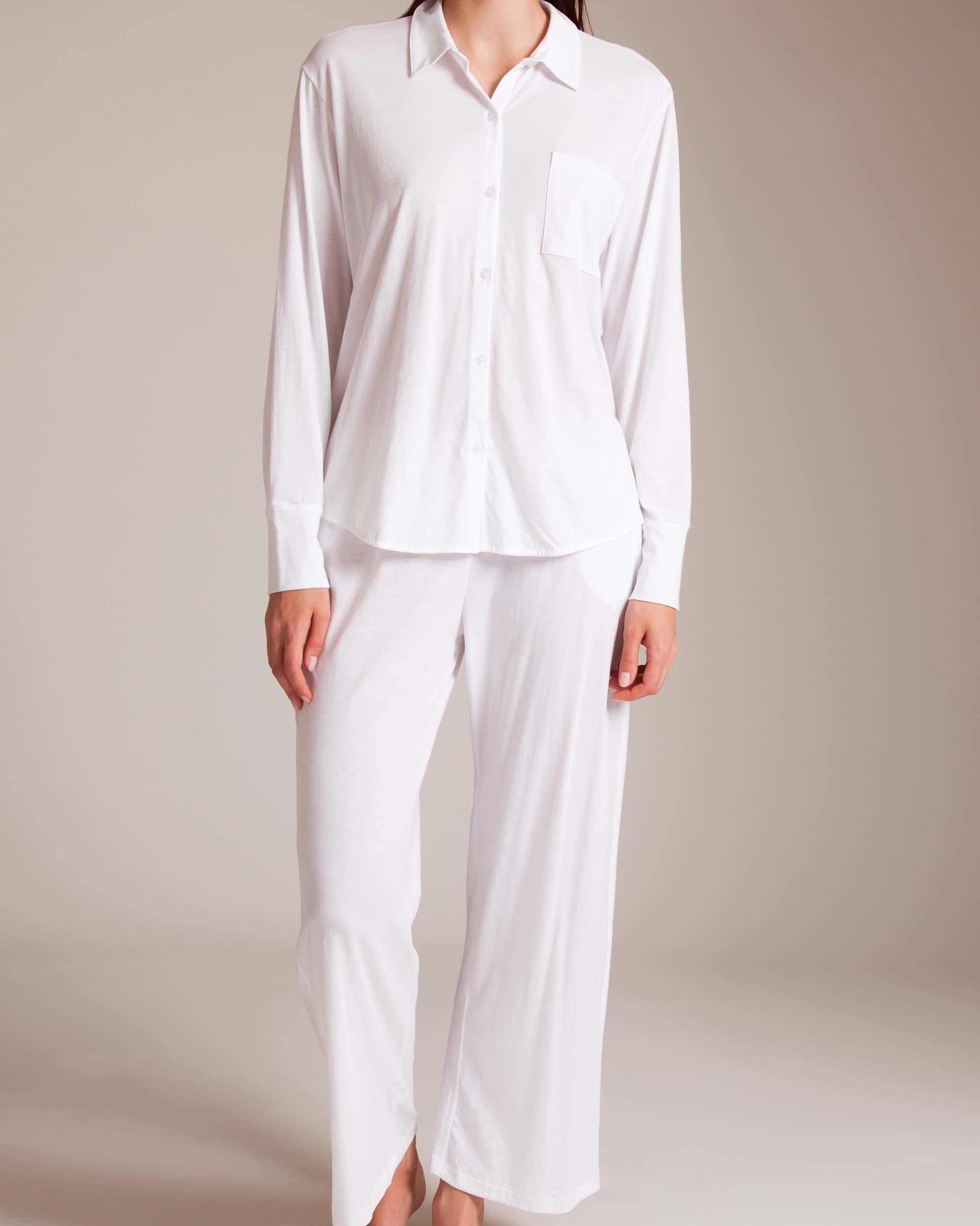 0a46522eb Skin Organic Pima Cotton Krista Kaelyn Pajama in White - Lyst