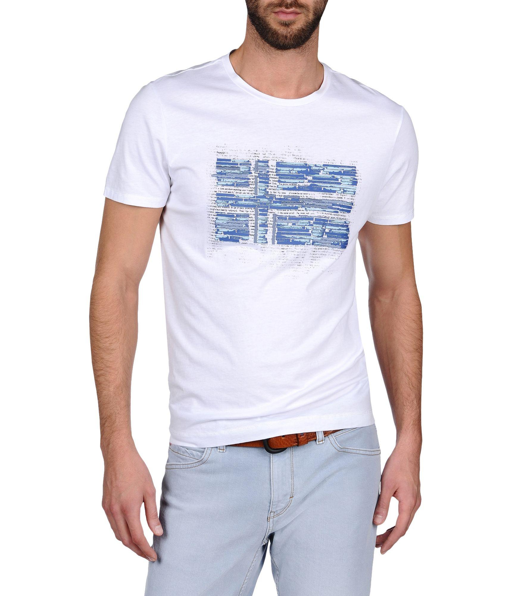 lyst napapijri short sleeve t shirt in white for men. Black Bedroom Furniture Sets. Home Design Ideas