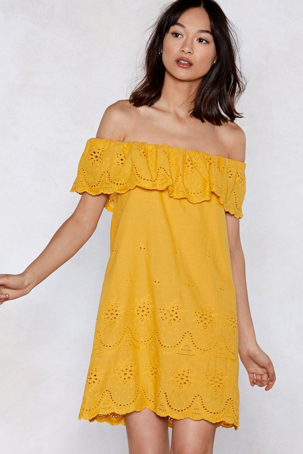 Nasty Gal Move Over Off-the-shoulder Dress in Yellow - Lyst 4d92b68a1