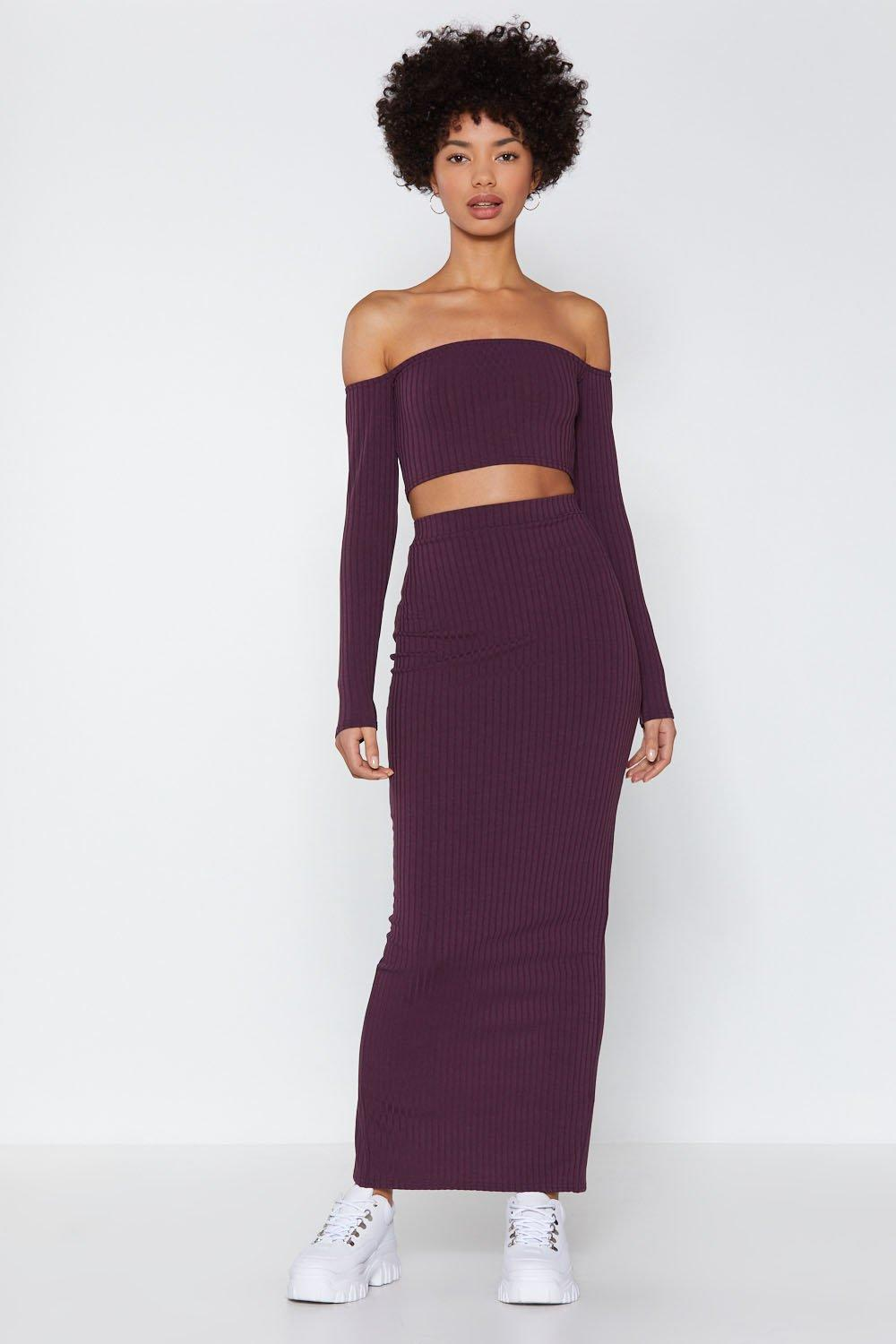 c42f87fb8d17 Lyst - Nasty Gal Our Best Off-the-shoulder Top And Midi Skirt Set in ...