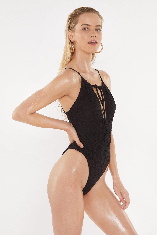 0f55e2af90e60 Nasty Gal - Black Santorini Crochet High-leg Swimsuit - Lyst. View  fullscreen